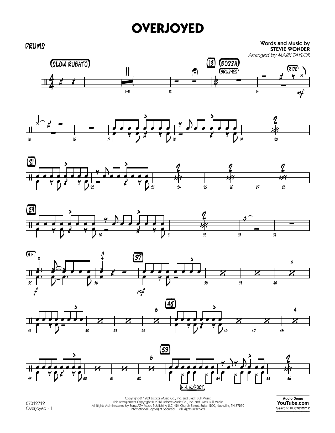 Overjoyed - Drums (Jazz Ensemble)