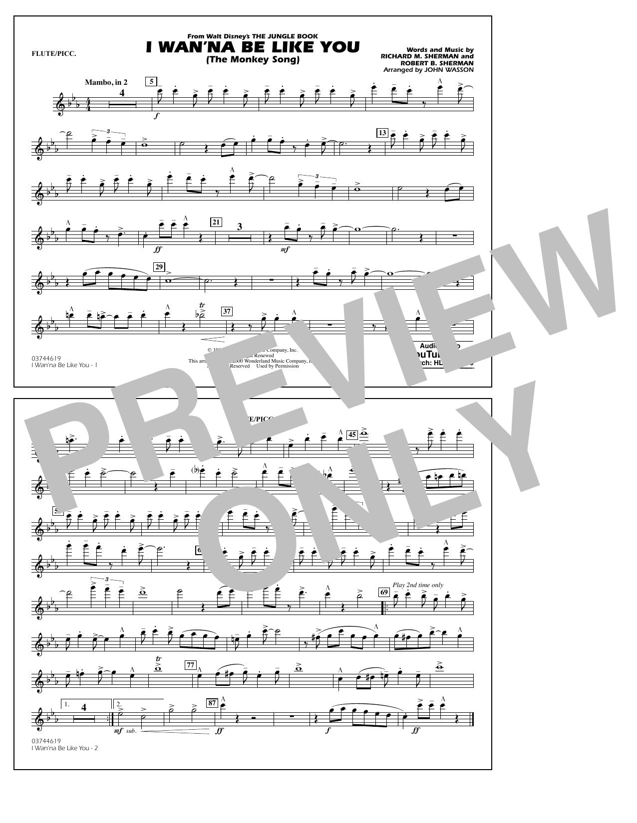 I Wan'na Be Like You - Flute/Piccolo (Marching Band)