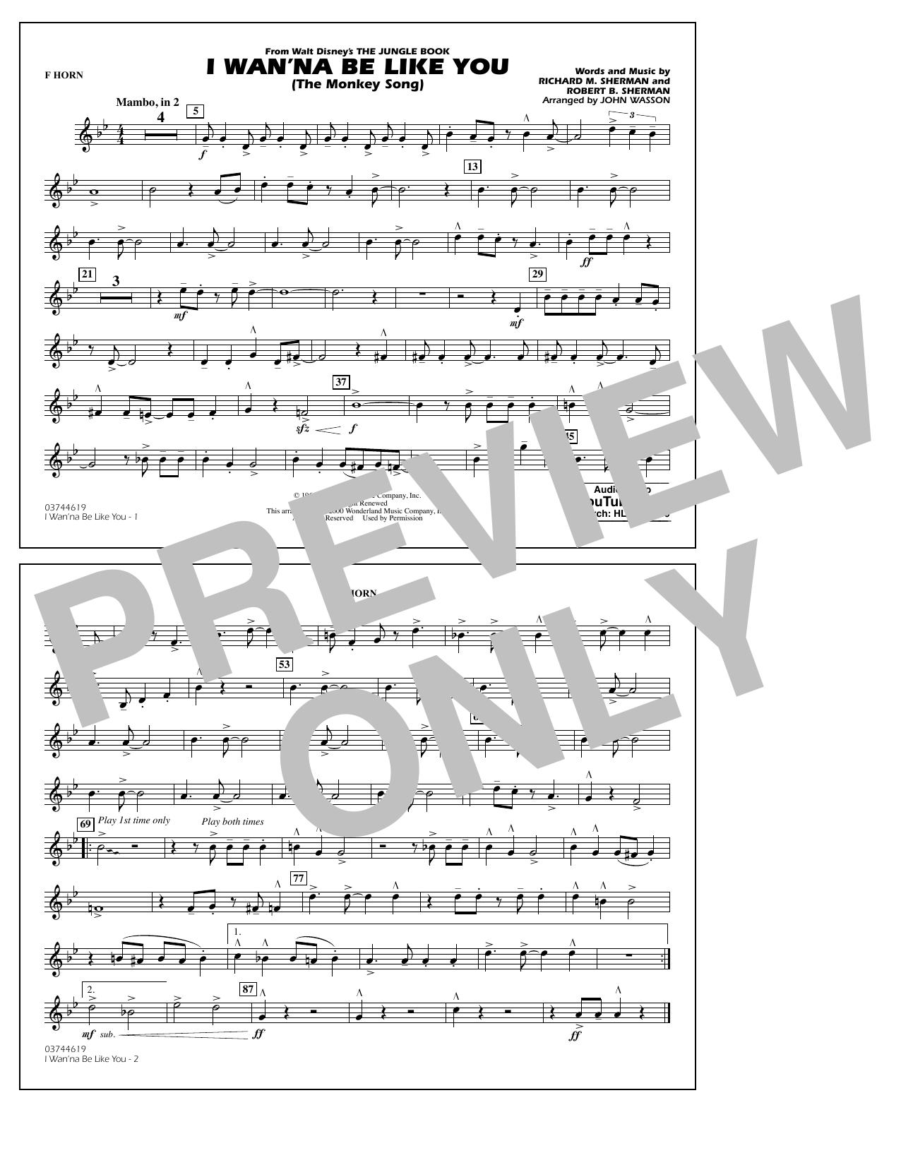 I Wan'na Be Like You - F Horn (Marching Band)