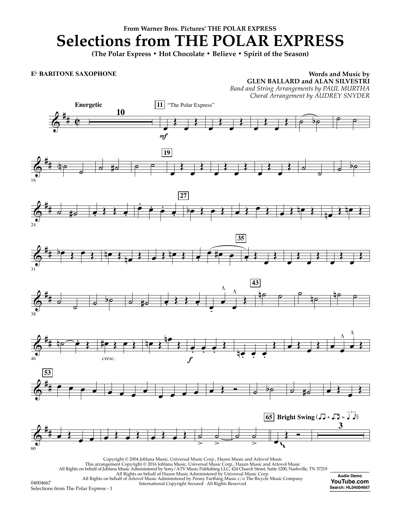 Selections from The Polar Express - Eb Baritone Saxophone (Concert Band)