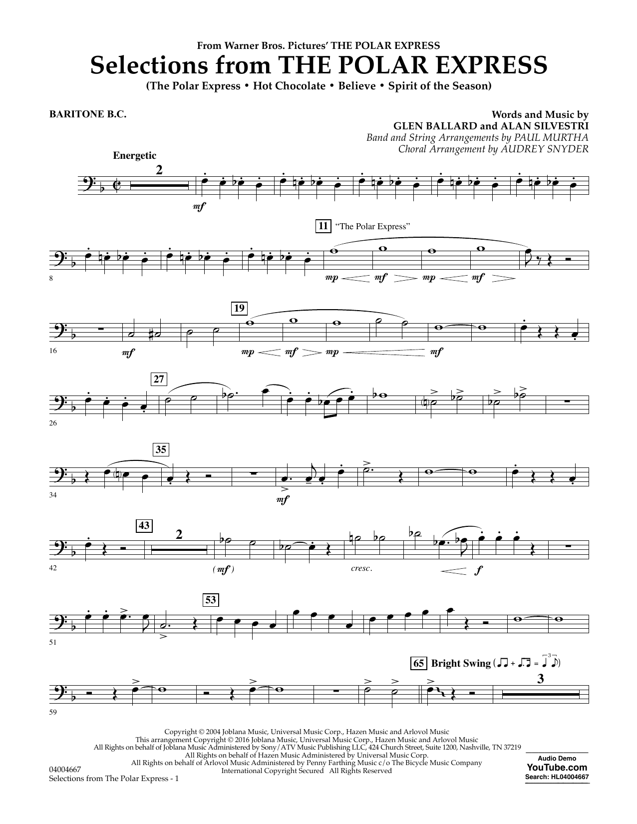 Selections from The Polar Express - Baritone B.C. (Concert Band)
