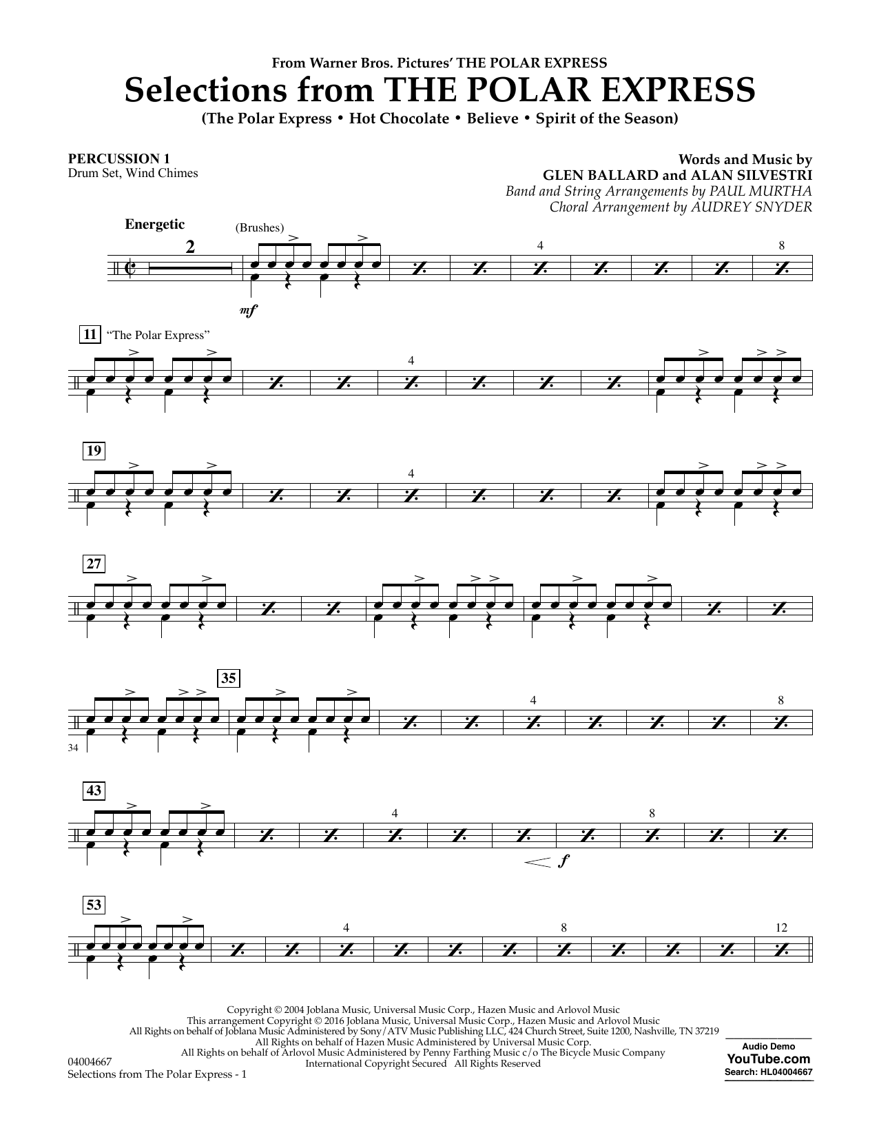 Selections from The Polar Express - Percussion 1 (Concert Band)