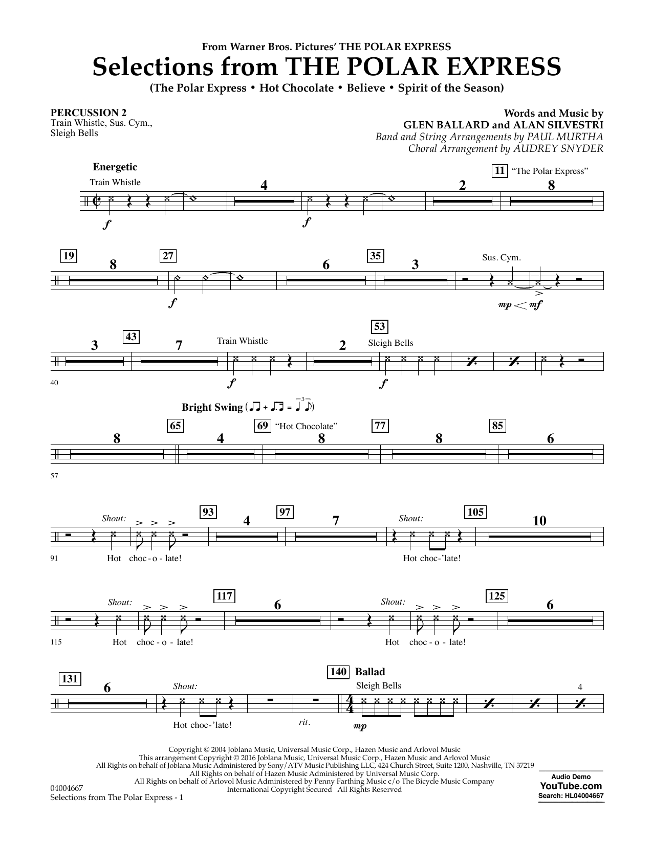 Selections from The Polar Express - Percussion 2 (Concert Band)