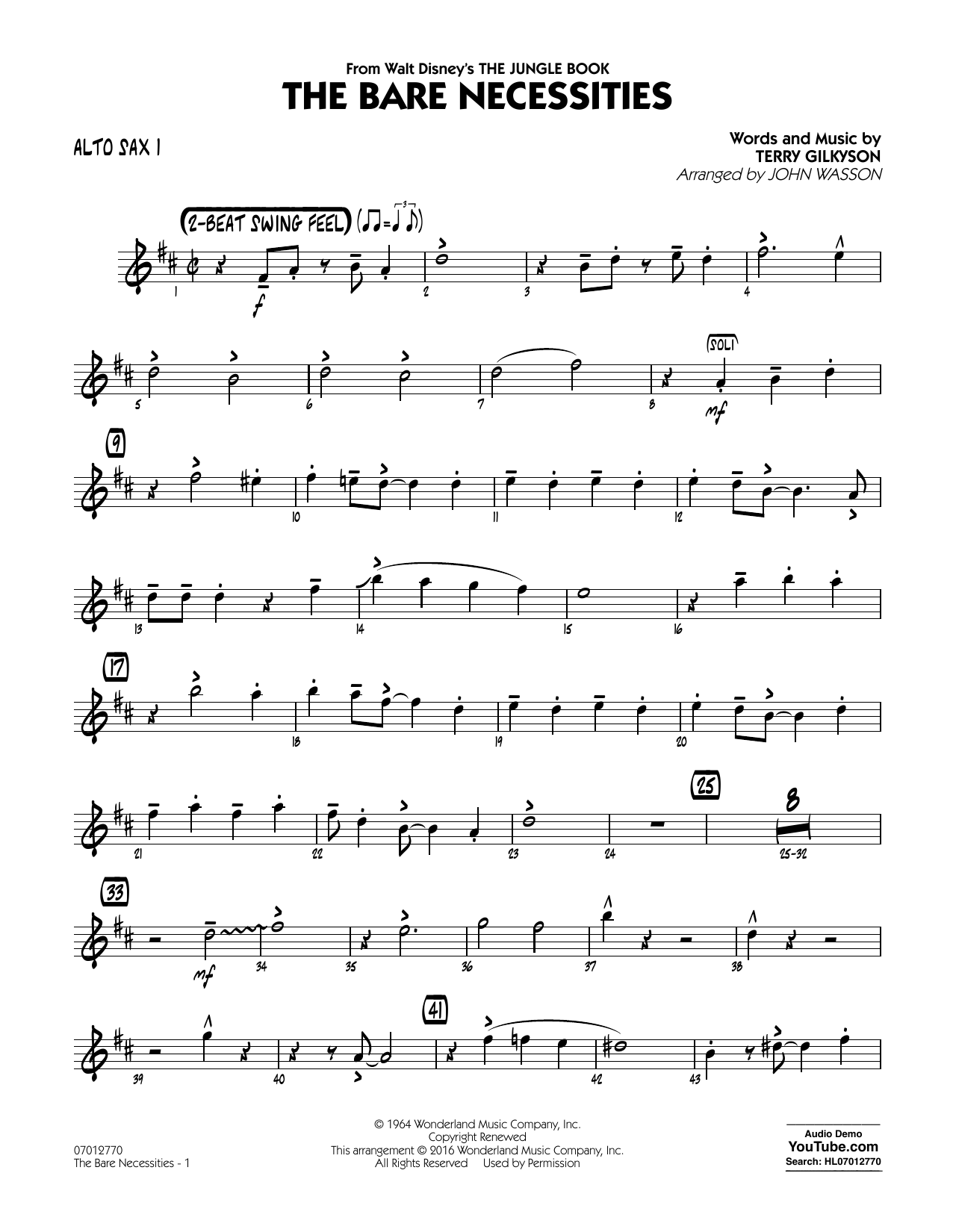 The Bare Necessities (from The Jungle Book) - Alto Sax 1 (Jazz Ensemble)