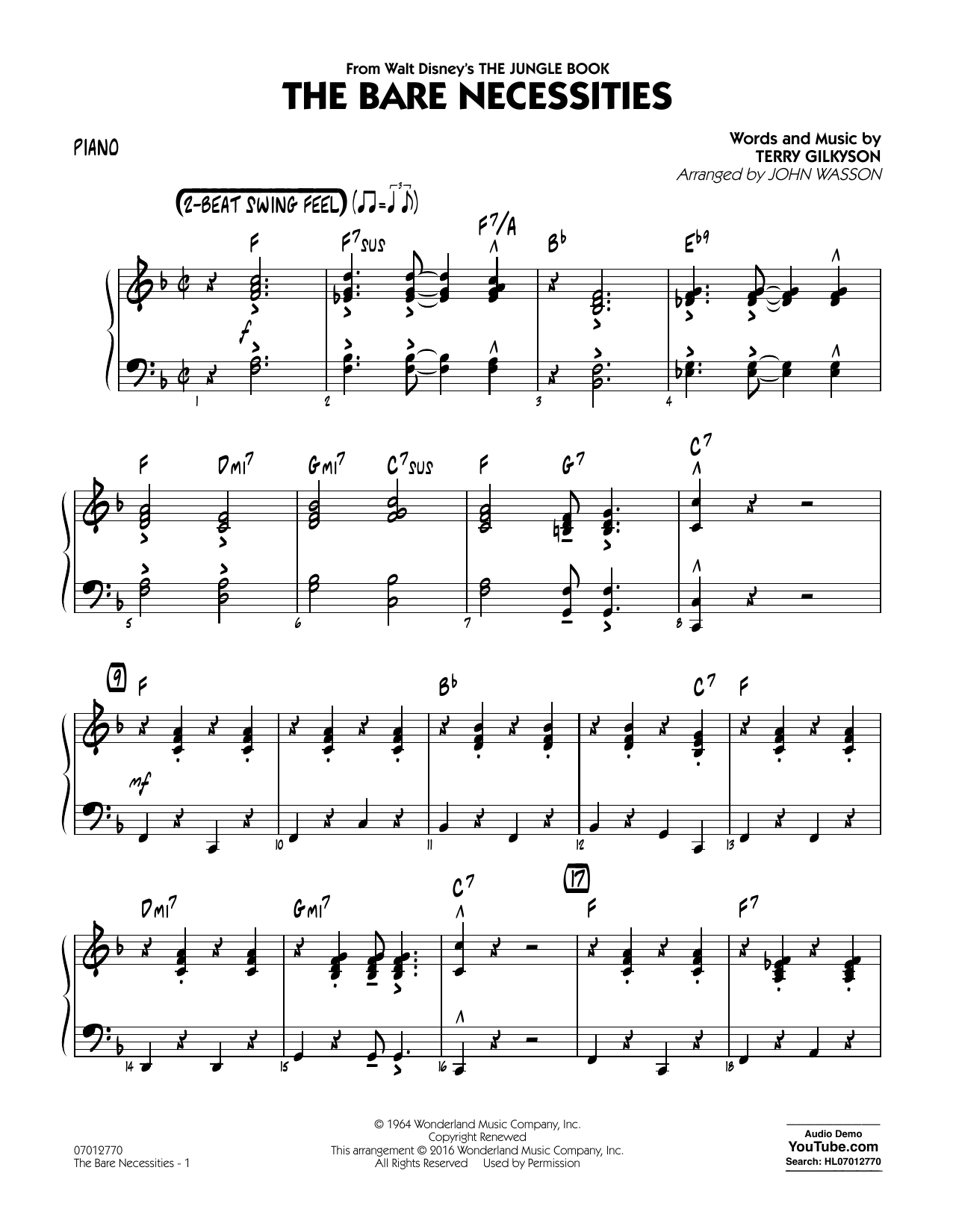 The Bare Necessities From The Jungle Book Piano Sheet Music John Wasson Jazz Ensemble