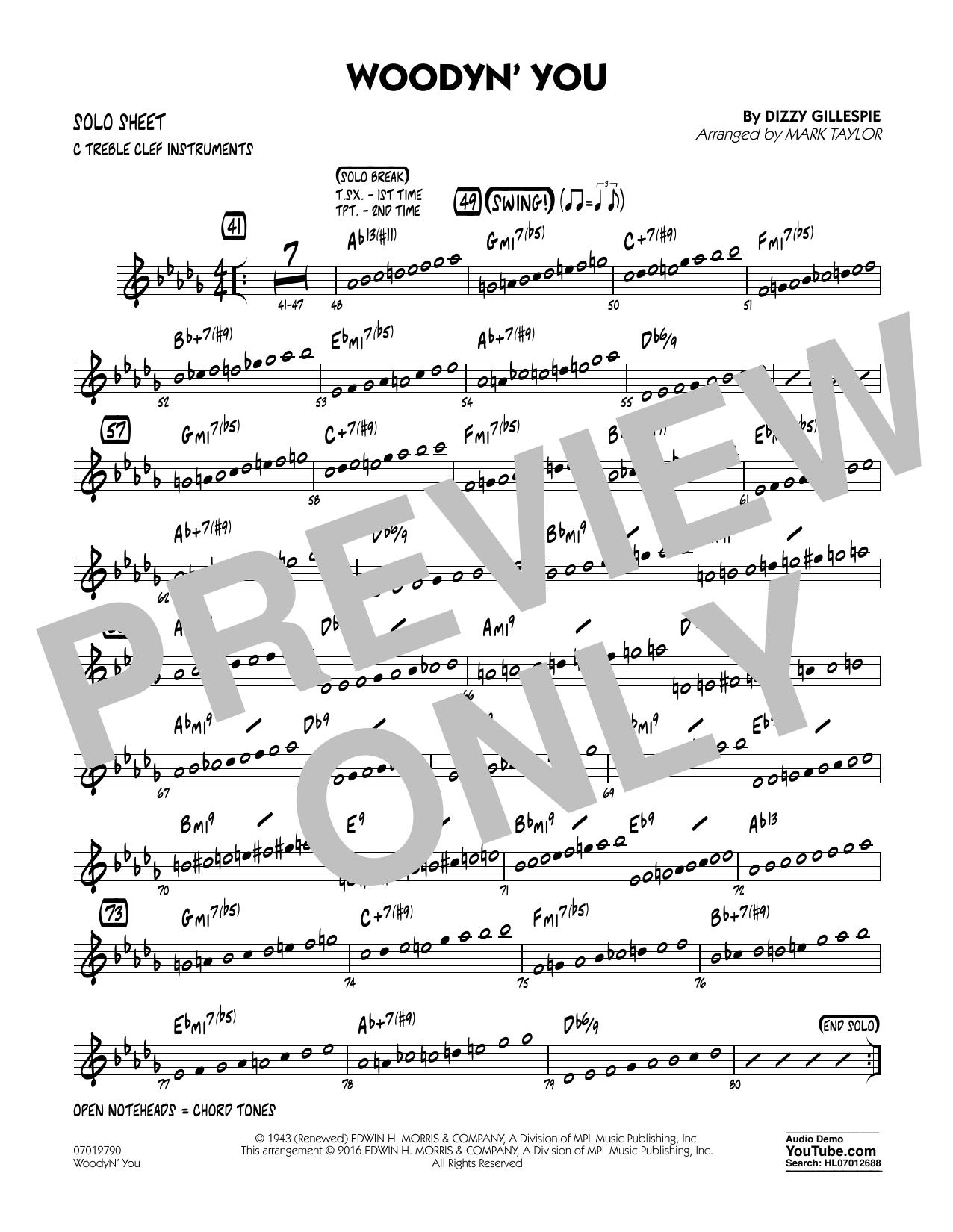 Woodyn' You - C Solo Sheet (Jazz Ensemble)