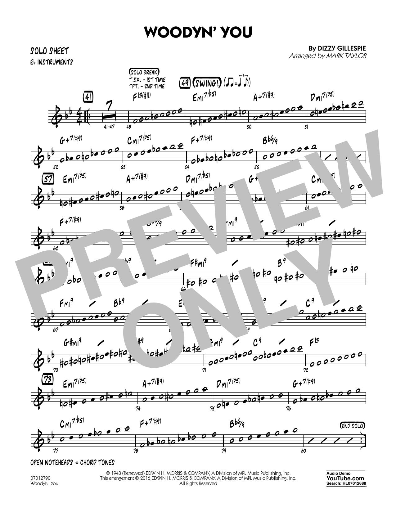 Woodyn' You - Eb Solo Sheet (Jazz Ensemble)