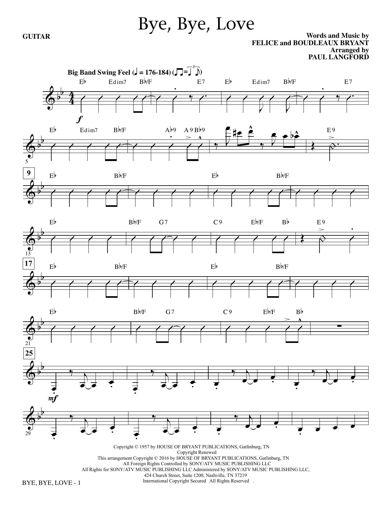 Bye, Bye Love - Guitar Sheet Music