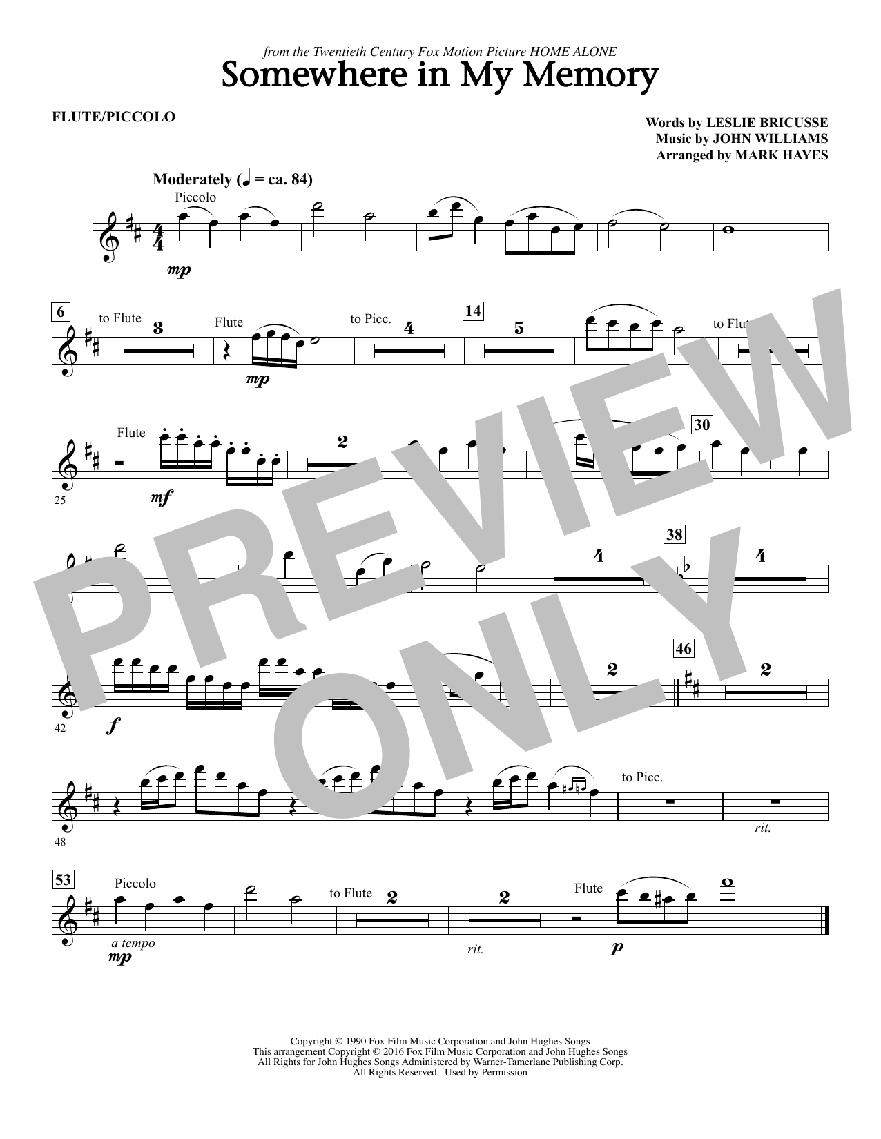 page one of Somewhere in My Memory (arr. Mark Hayes) - FluteASALTTEXT