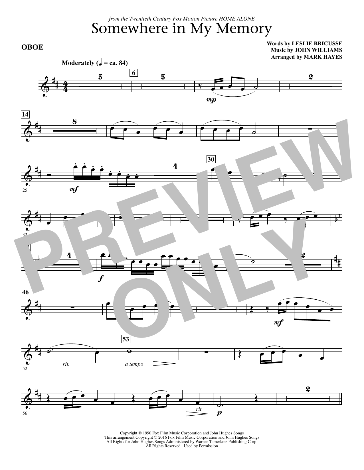 Somewhere in My Memory (arr. Mark Hayes) - Oboe (Choir Instrumental Pak)