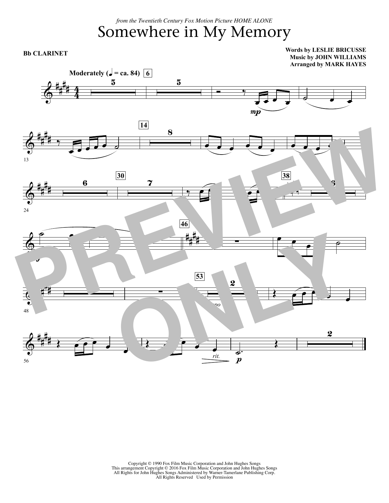 Somewhere in My Memory (arr. Mark Hayes) - Bb Clarinet (Choir Instrumental Pak)