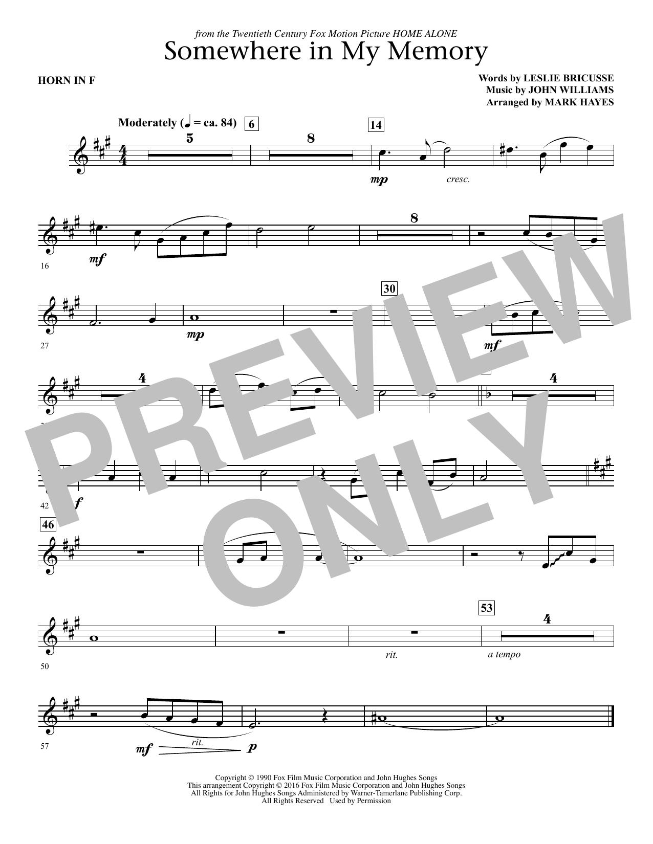 Somewhere in My Memory (arr. Mark Hayes) - F Horn (Choir Instrumental Pak)
