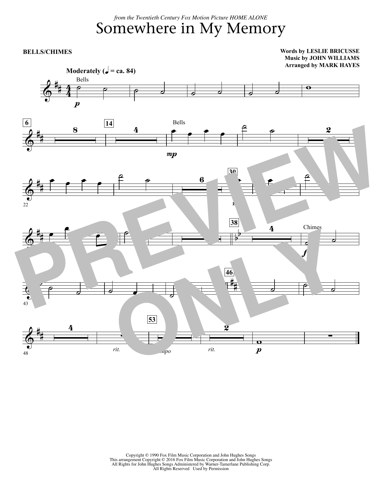 page one of Somewhere in My Memory (arr. Mark Hayes) - Bells/ChimesASALTTEXT