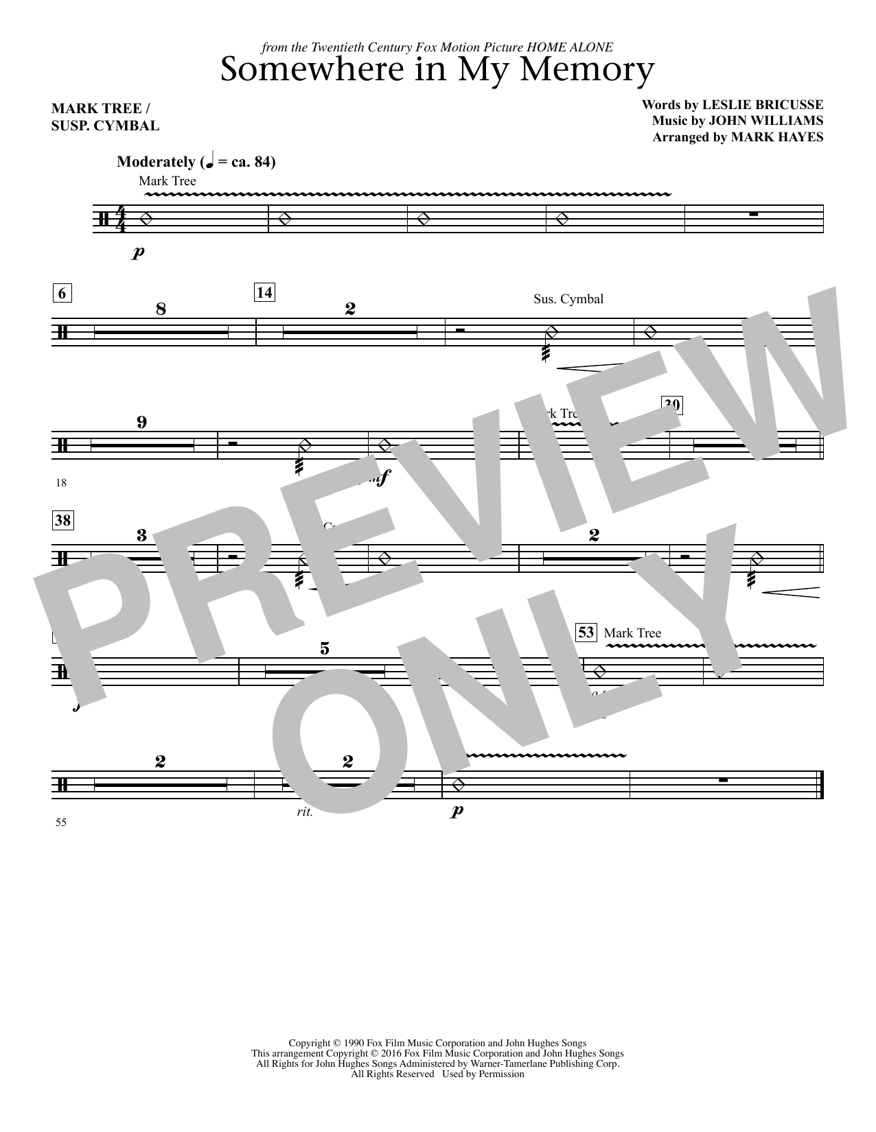 Somewhere in My Memory (arr. Mark Hayes) - Percussion (Choir Instrumental Pak)