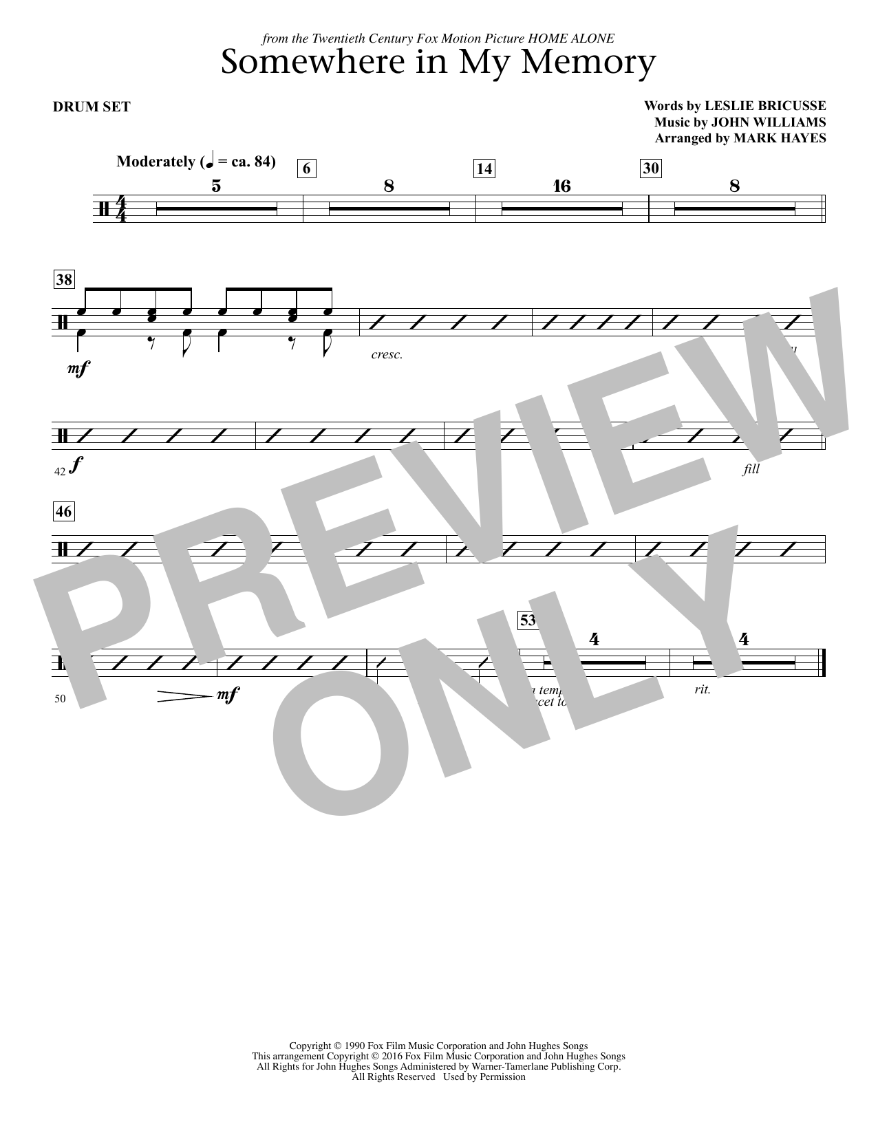 page one of Somewhere in My Memory (arr. Mark Hayes) - Drum SetASALTTEXT