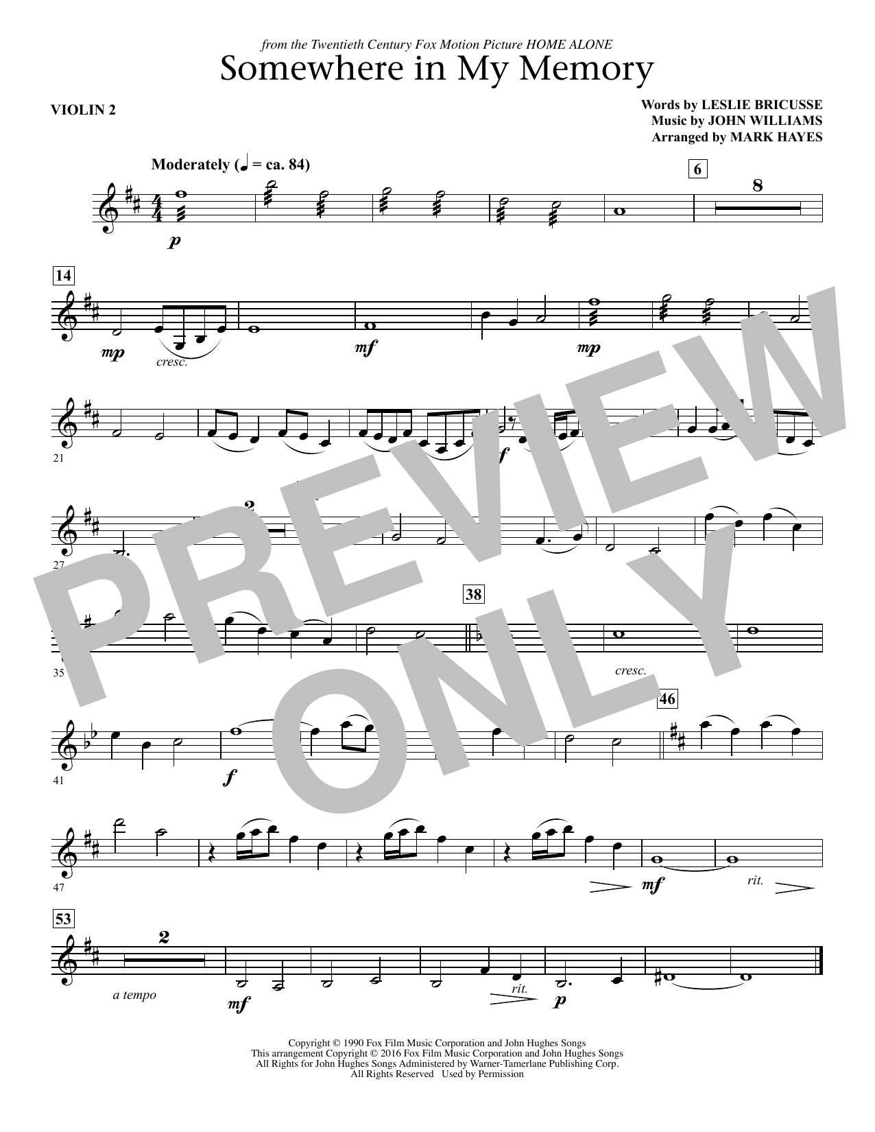Somewhere in My Memory (arr. Mark Hayes) - Violin 2 (Choir Instrumental Pak)