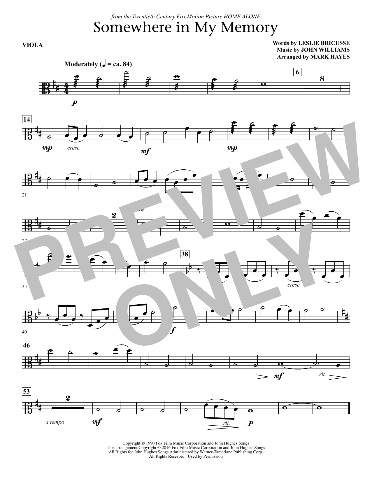 page one of Somewhere in My Memory (arr. Mark Hayes) - ViolaASALTTEXT