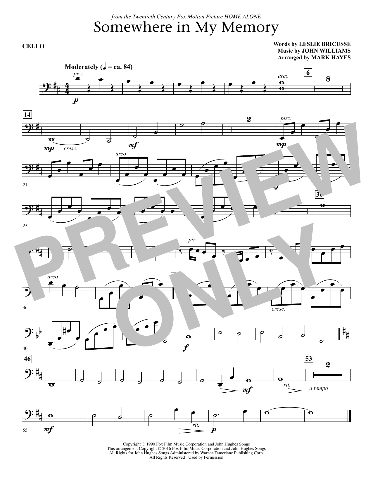 page one of Somewhere in My Memory (arr. Mark Hayes) - CelloASALTTEXT