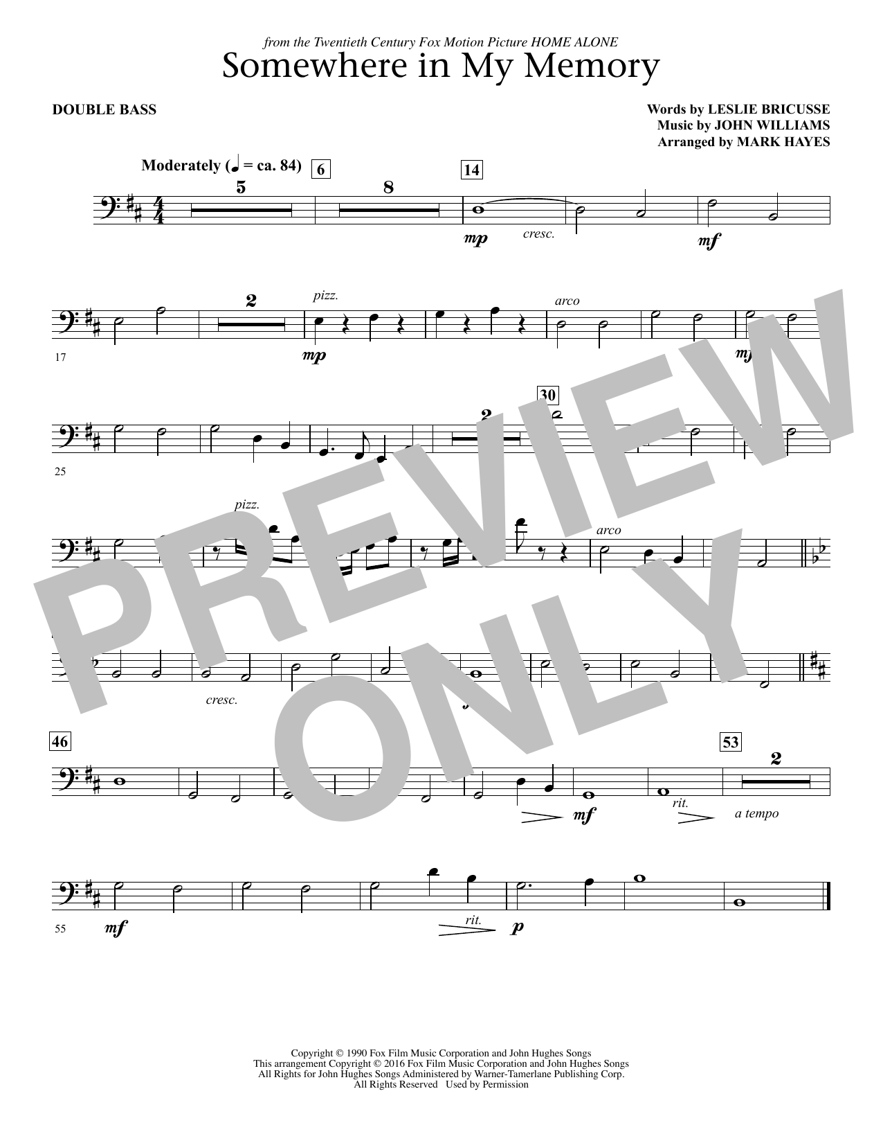 Somewhere in My Memory (arr. Mark Hayes) - Bass (Choir Instrumental Pak)
