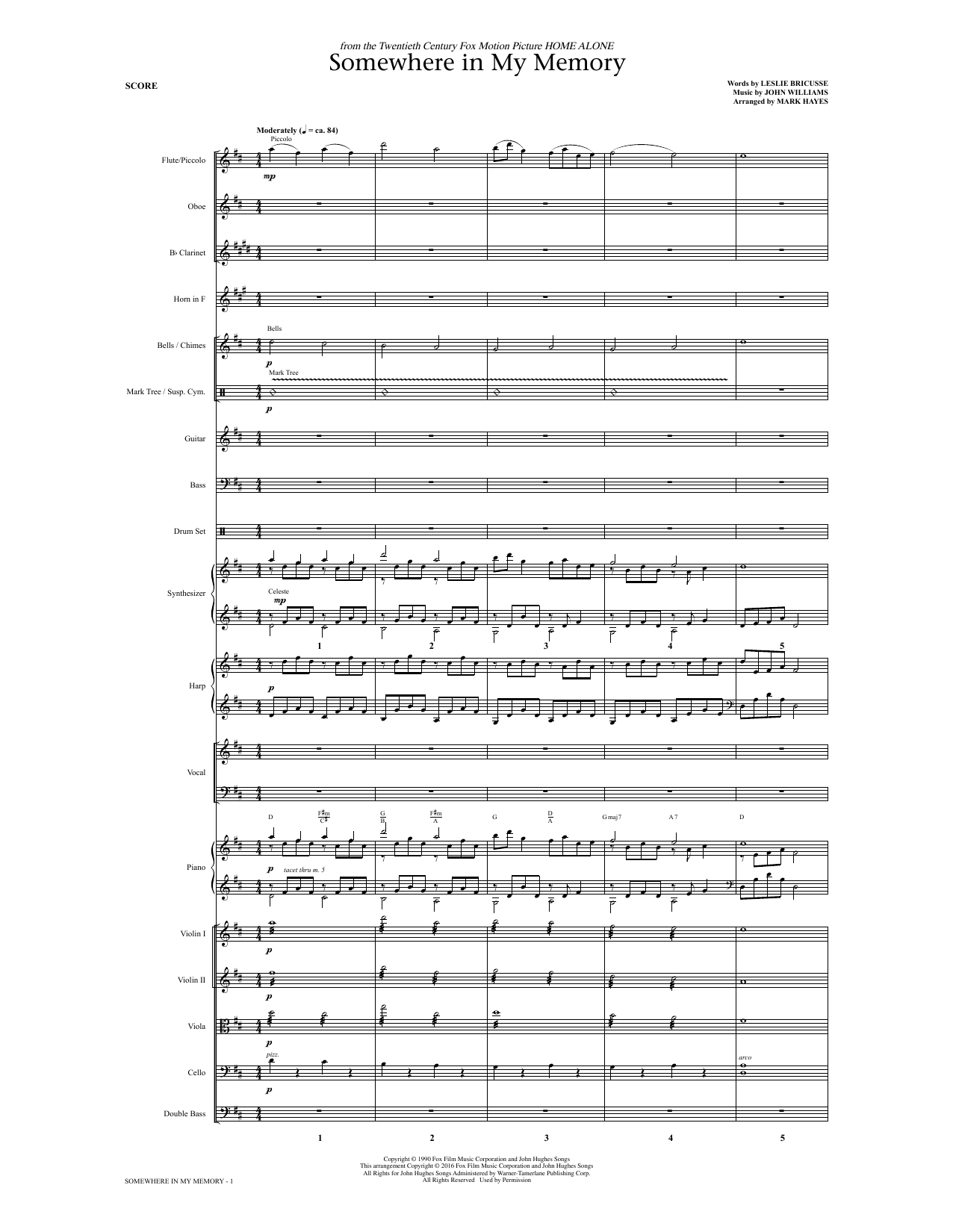Somewhere in My Memory (arr. Mark Hayes) - Full Score Digitale Noten