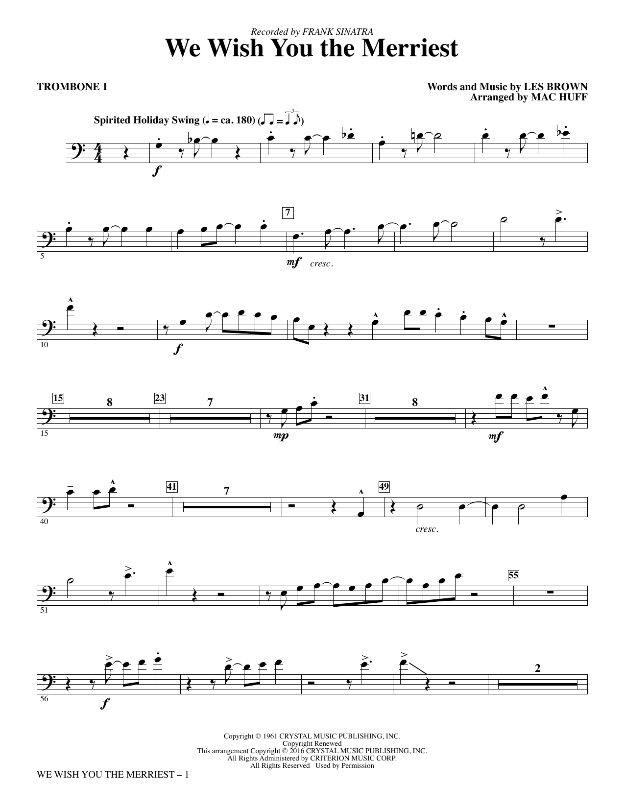 We Wish You the Merriest - Trombone 1 Sheet Music