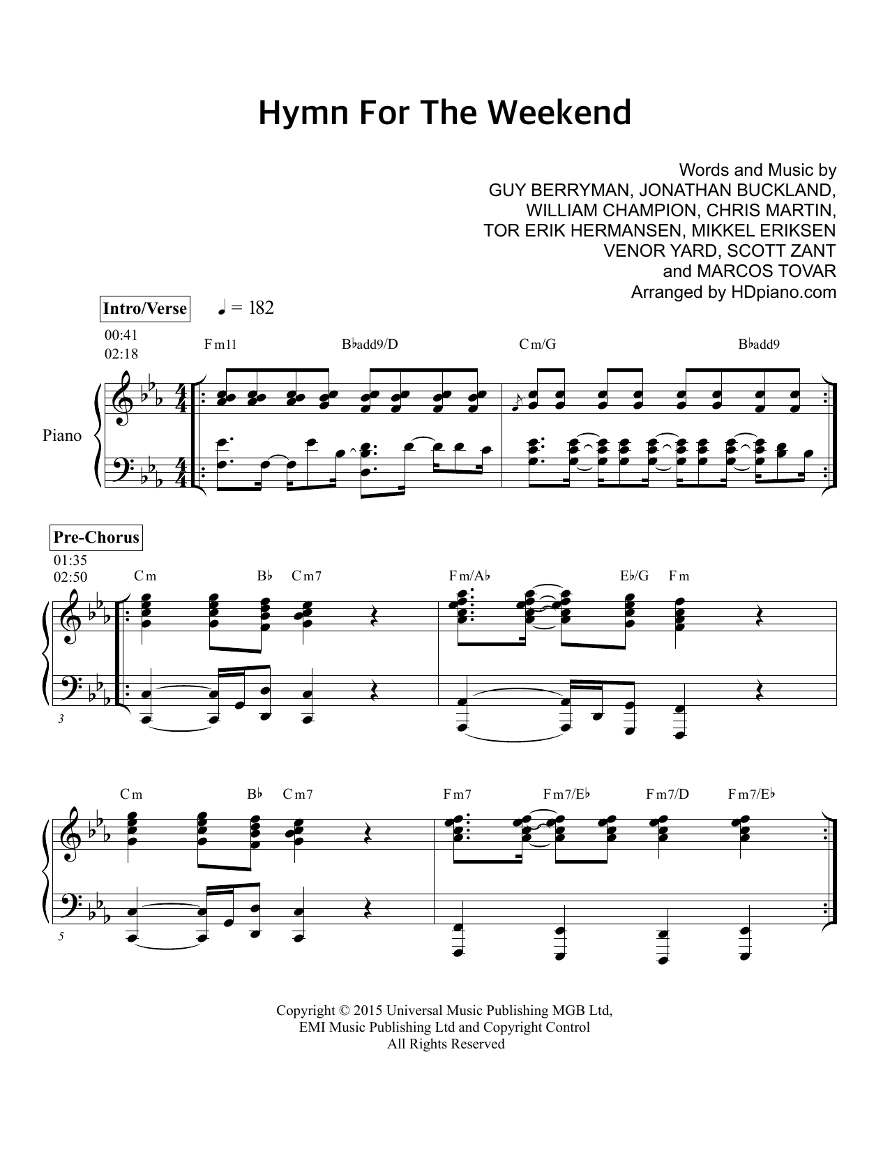Hymn for the weekend sheet music direct sheet preview hexwebz Choice Image