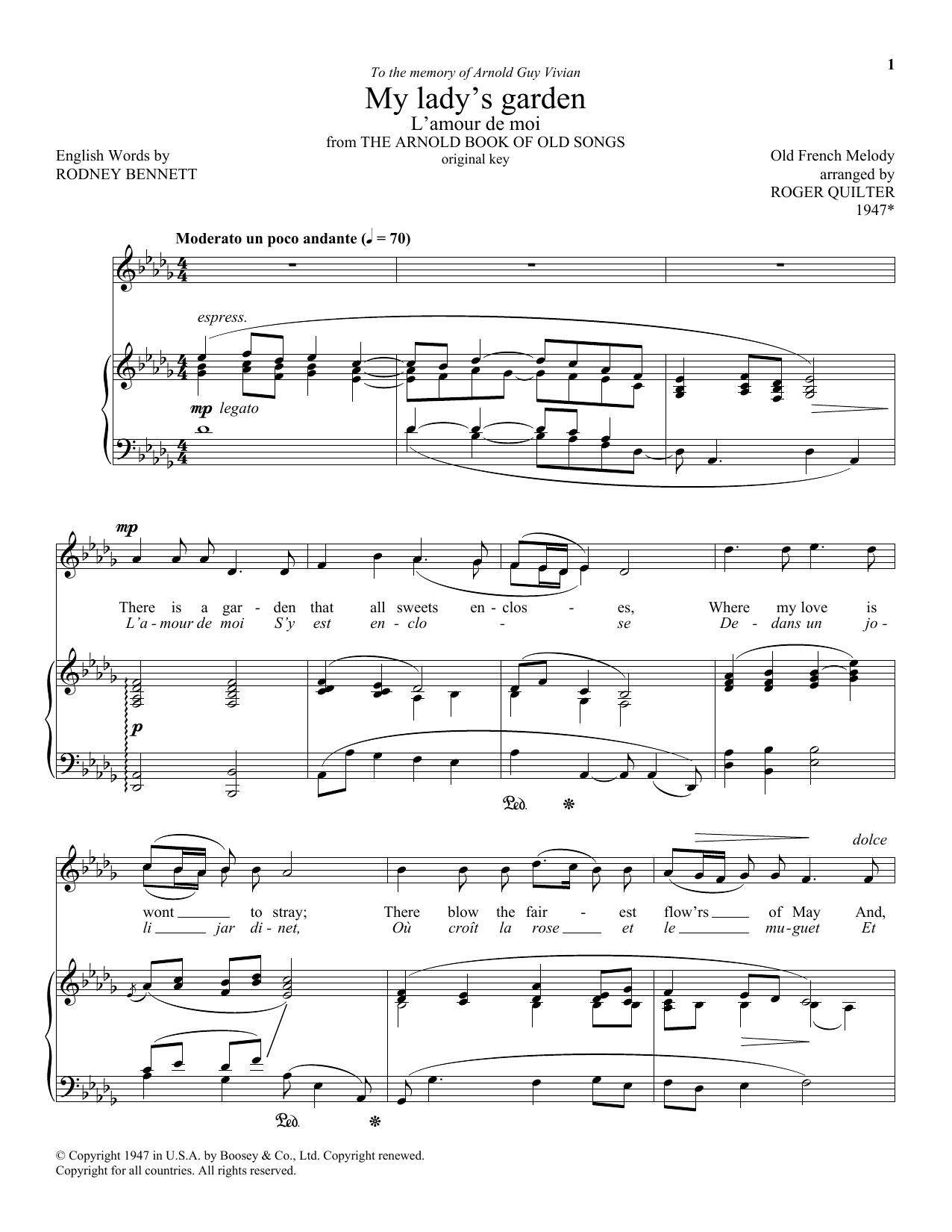 My Lady's Garden (L'amour De Moi) (Piano & Vocal)