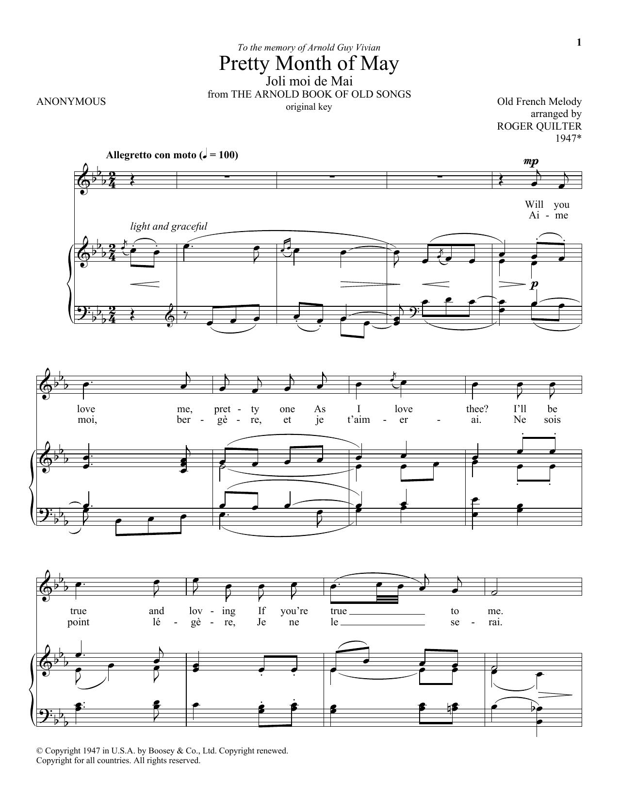 Pretty Month Of May (Joli Moi De Mai) (Piano & Vocal)