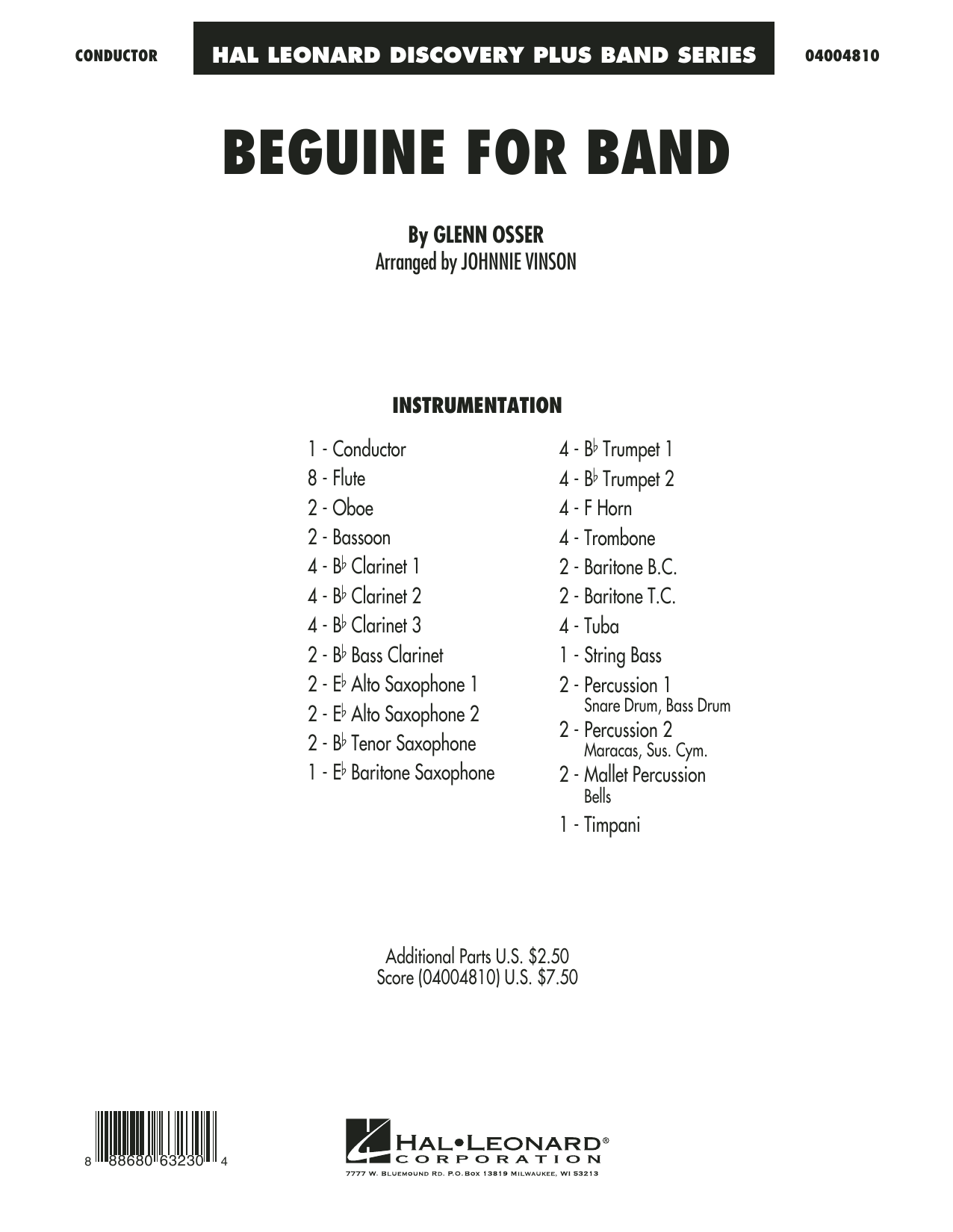 Beguine for Band (COMPLETE) sheet music for concert band by Johnnie Vinson. Score Image Preview.