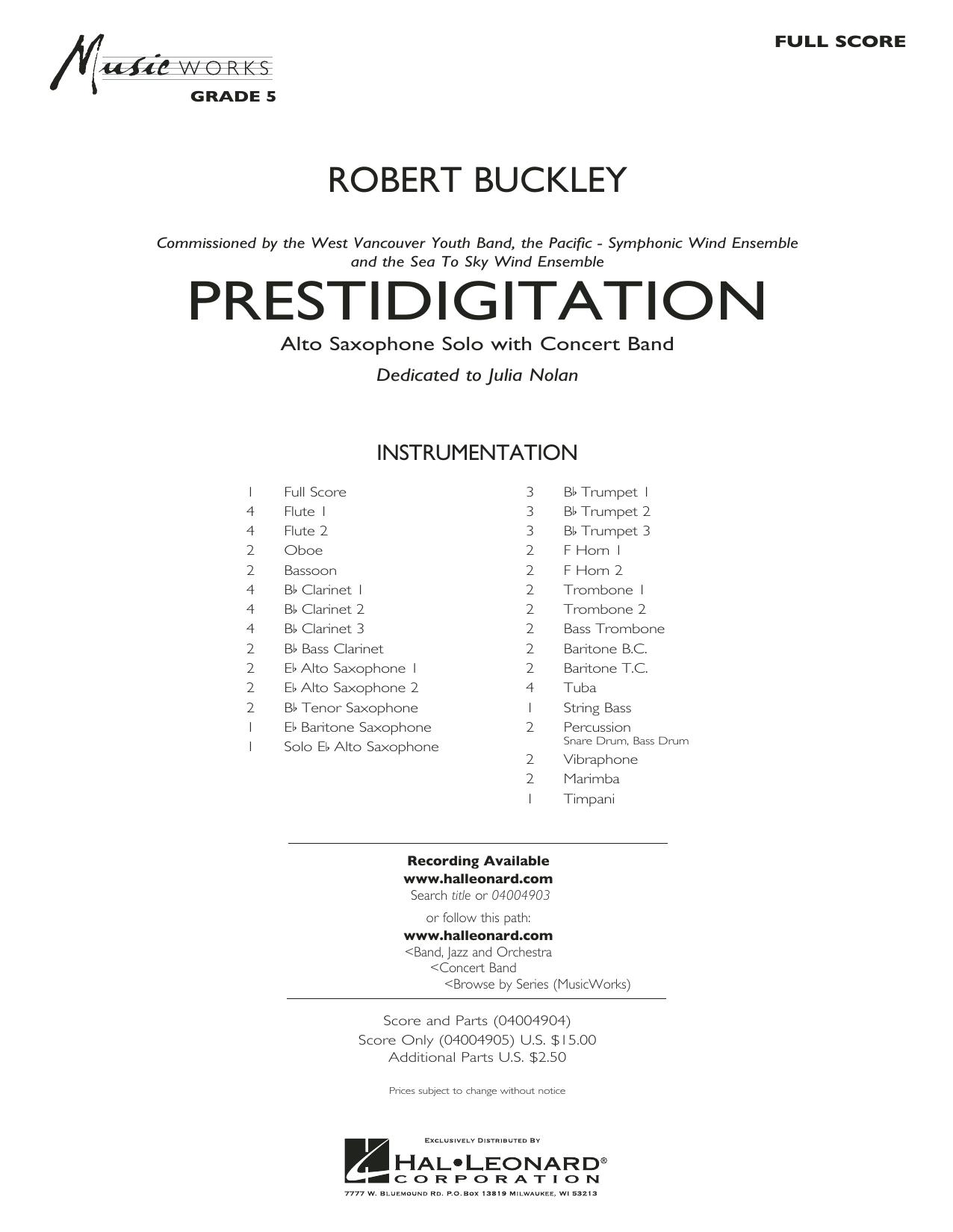 Prestidigitation (Alto Saxophone Solo with Band) - Conductor Score (Full Score) (Concert Band)