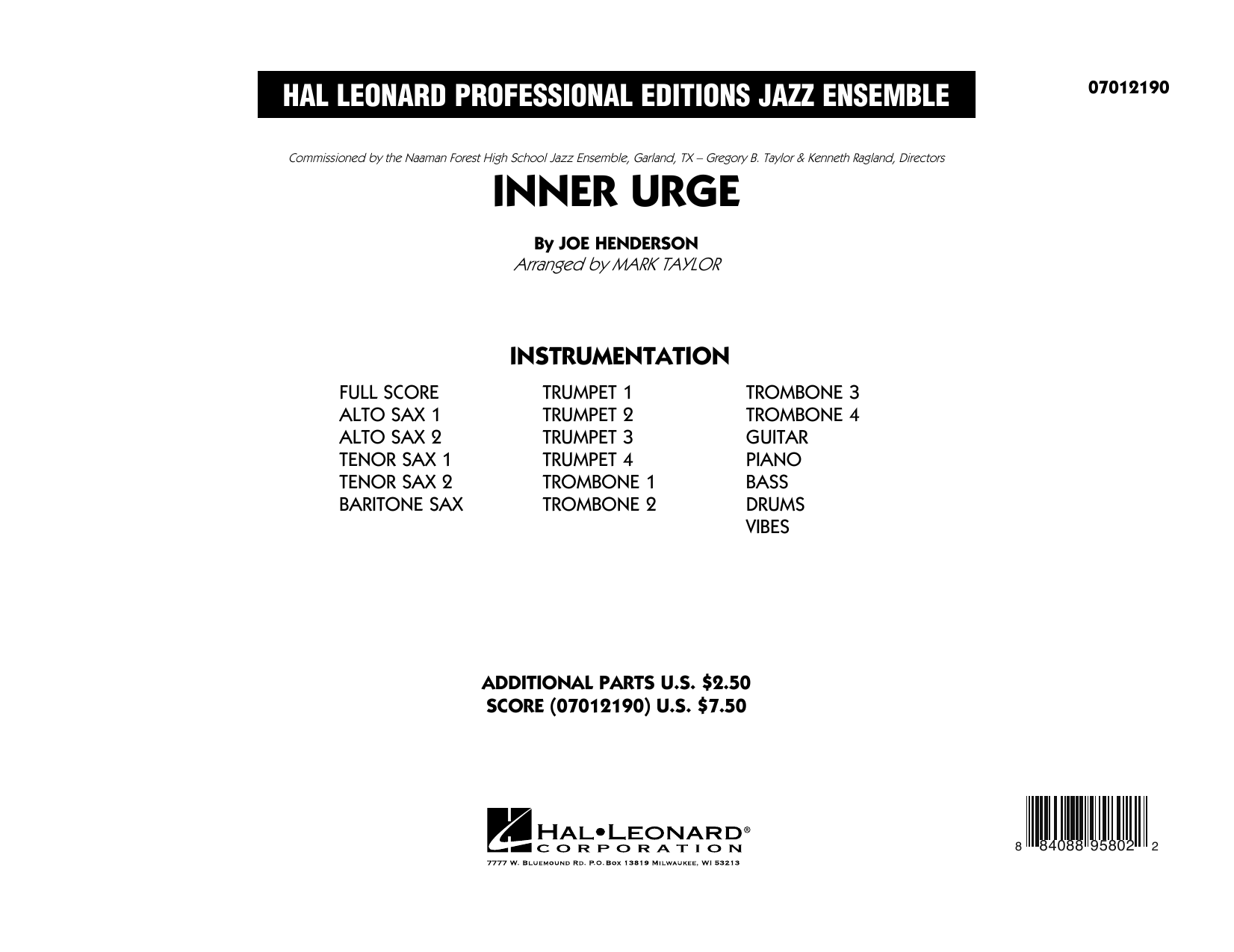 Inner Urge (COMPLETE) sheet music for jazz band by Joe Henderson and Mark Taylor. Score Image Preview.