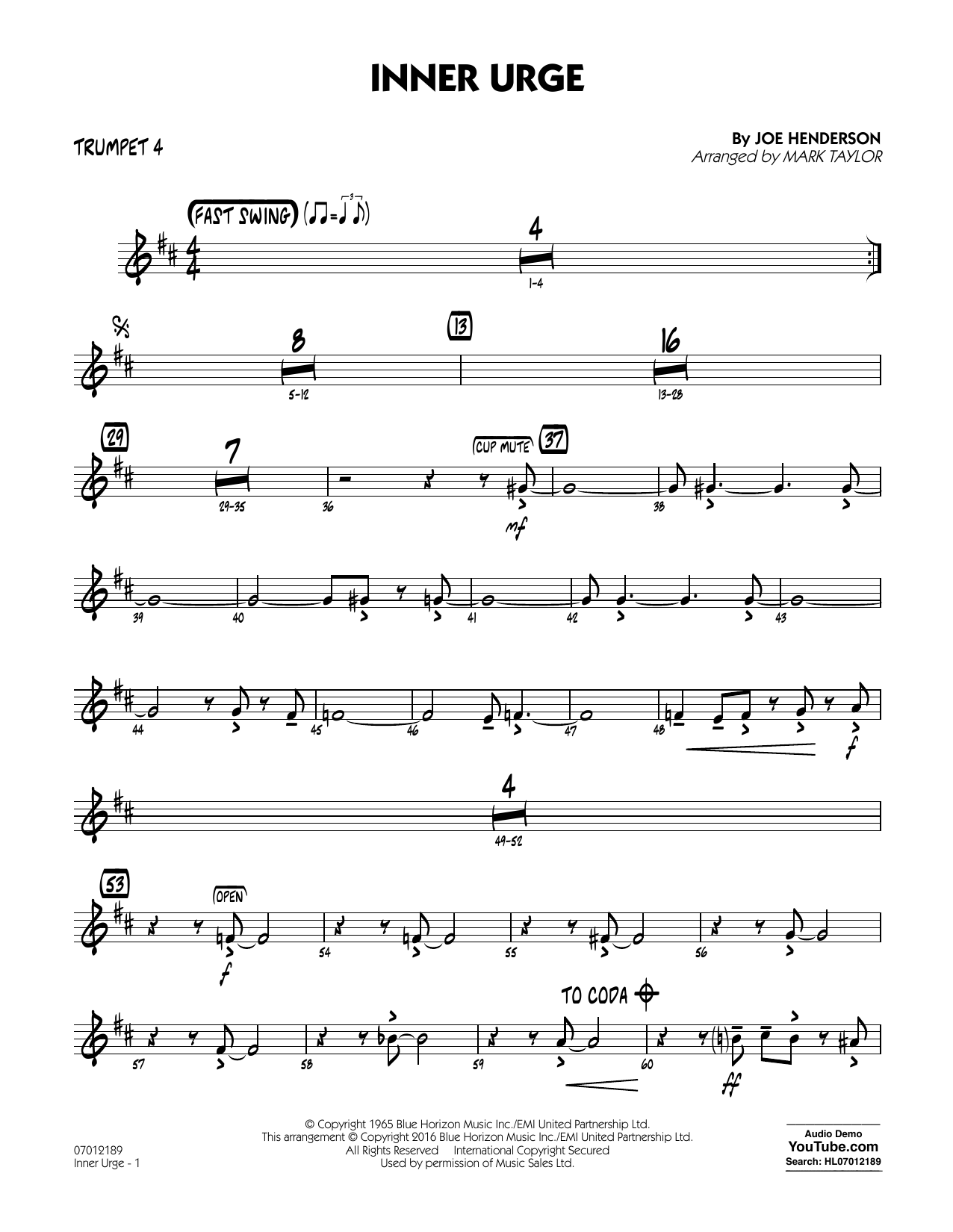 Inner Urge - Trumpet 4 (Jazz Ensemble)