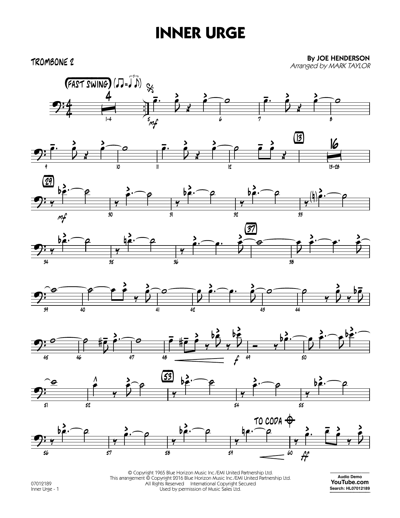 Inner Urge - Trombone 2 (Jazz Ensemble)