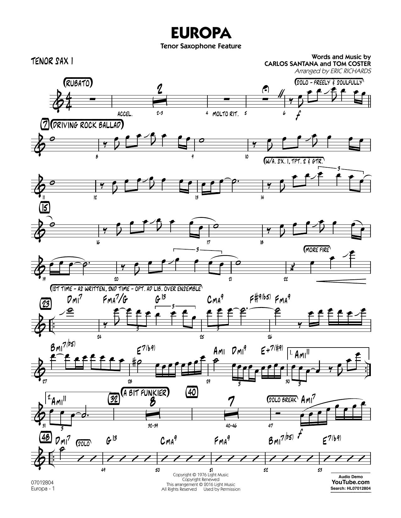 Europa - Tenor Sax 1 (Jazz Ensemble)