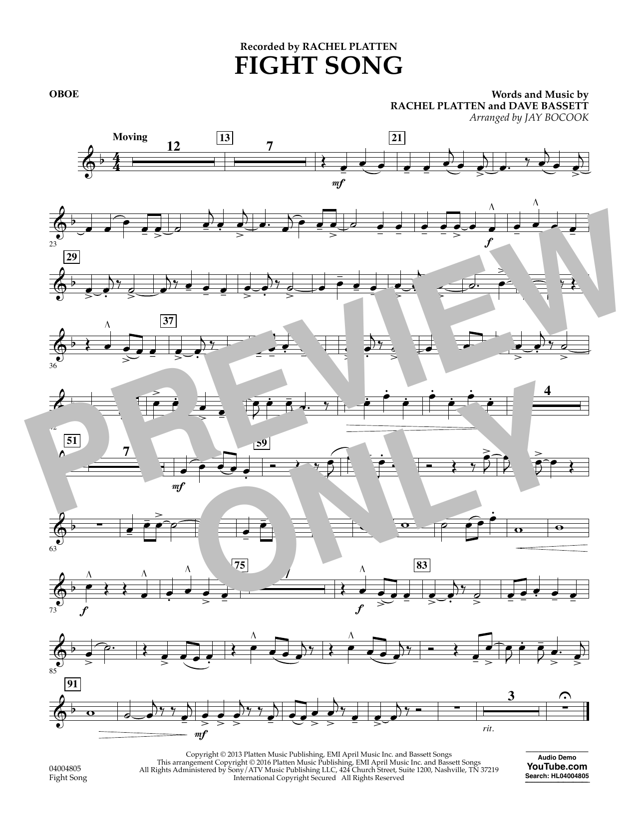 Fight Song - Oboe (Concert Band)