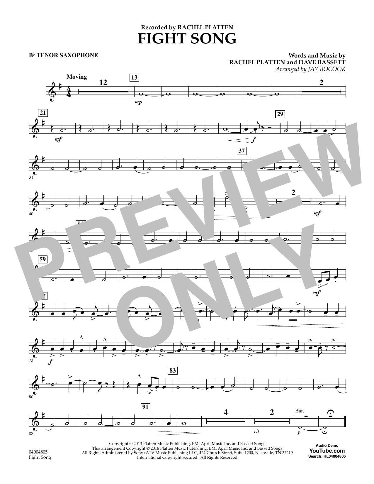 Fight Song - Bb Tenor Saxophone by Jay Bocook Concert Band Digital Sheet  Music