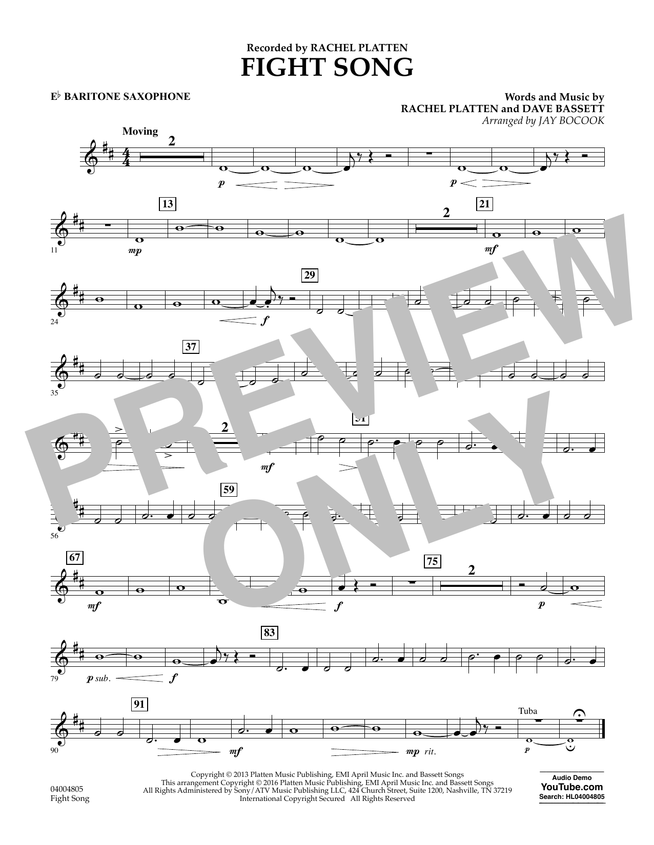 Fight Song - Eb Baritone Saxophone (Concert Band)