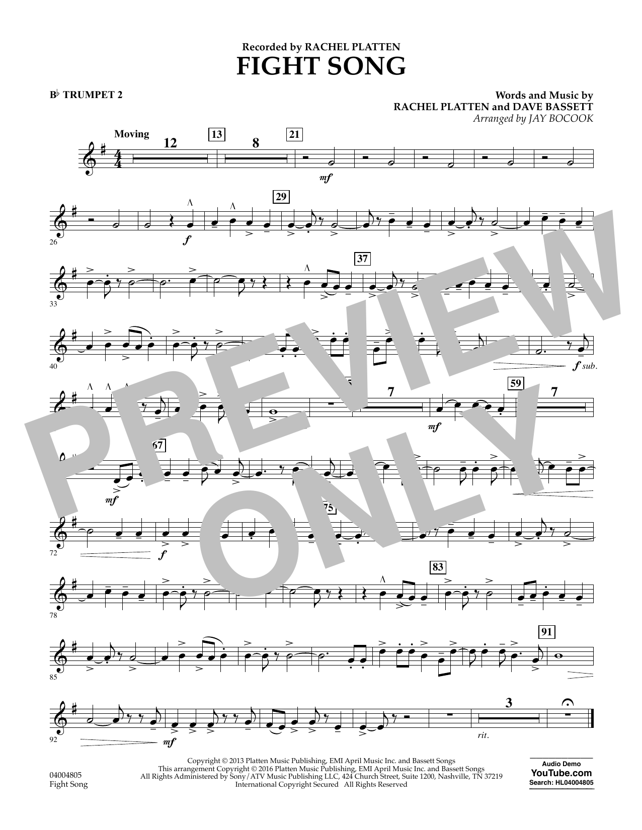 Fight Song - Bb Trumpet 2 (Concert Band)