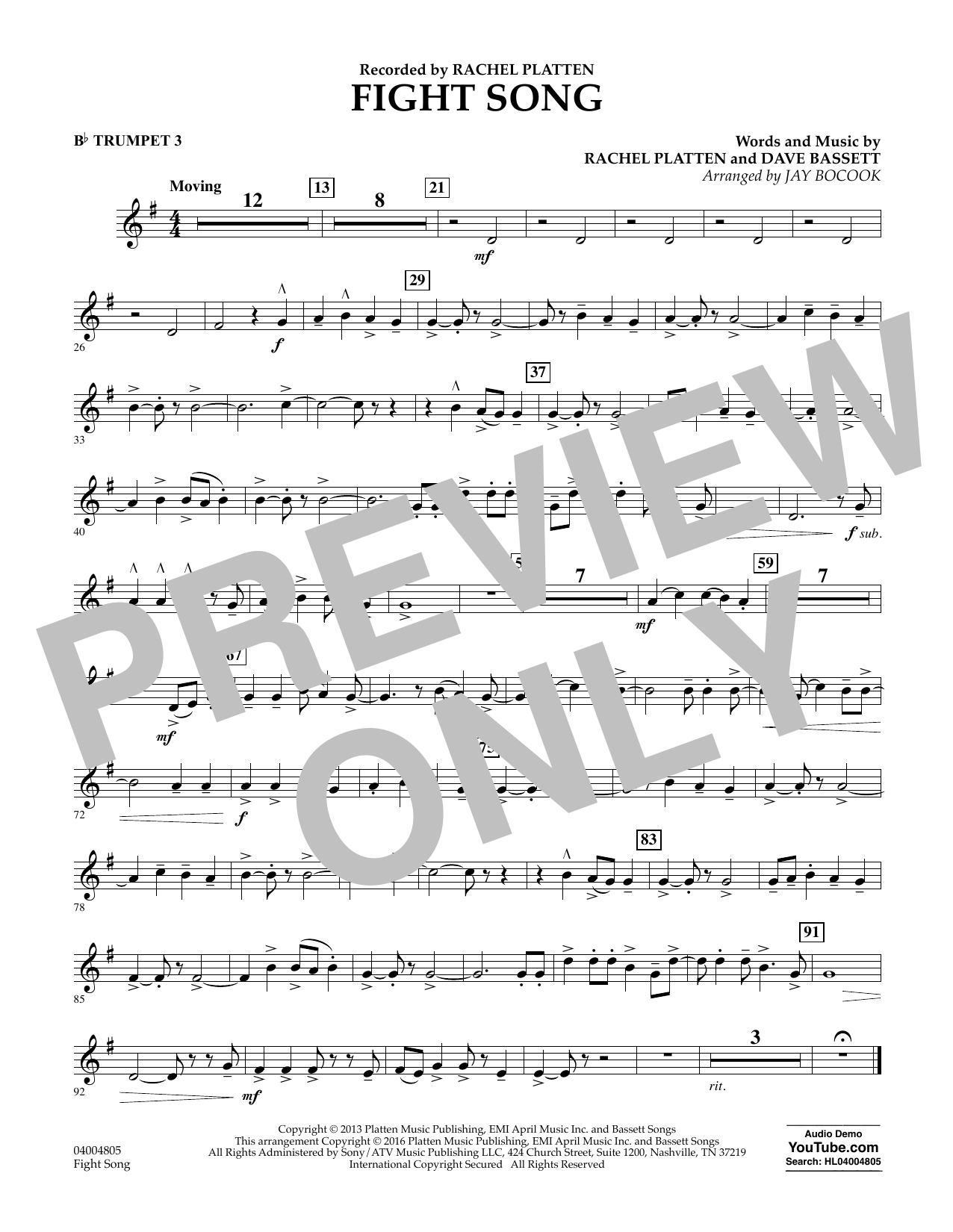Fight Song - Bb Trumpet 3 (Concert Band)