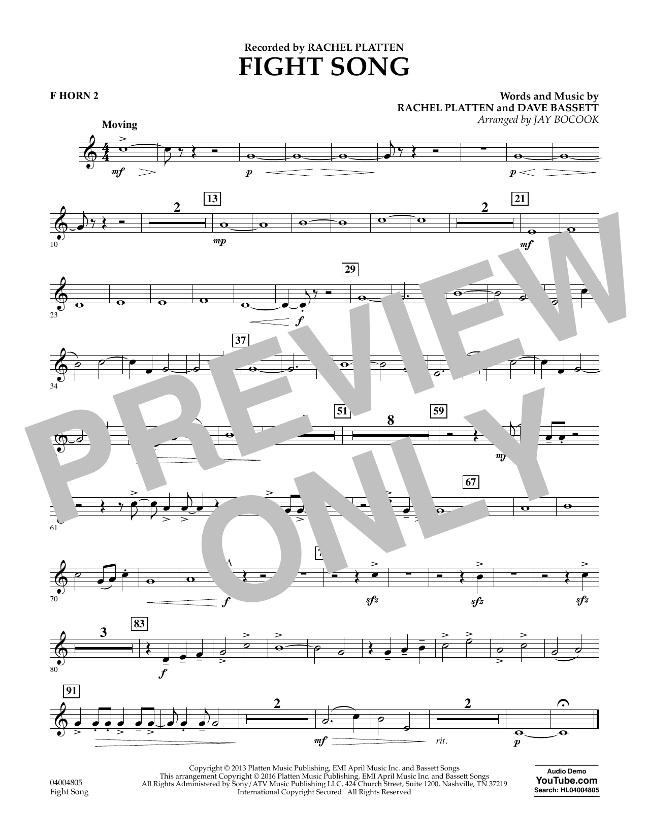 Fight Song - F Horn 2 by Jay Bocook Concert Band Digital Sheet Music