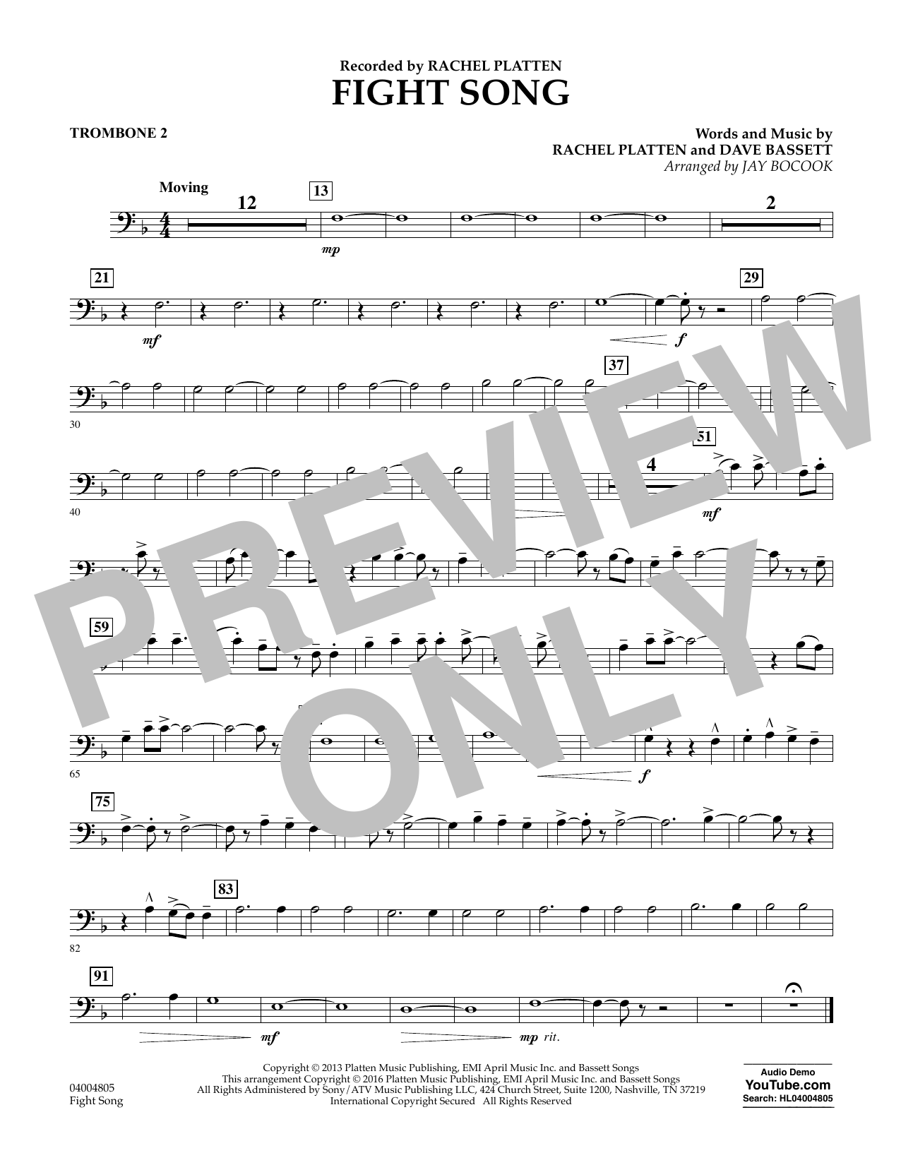 Fight Song - Trombone 2 by Jay Bocook Concert Band Digital Sheet Music