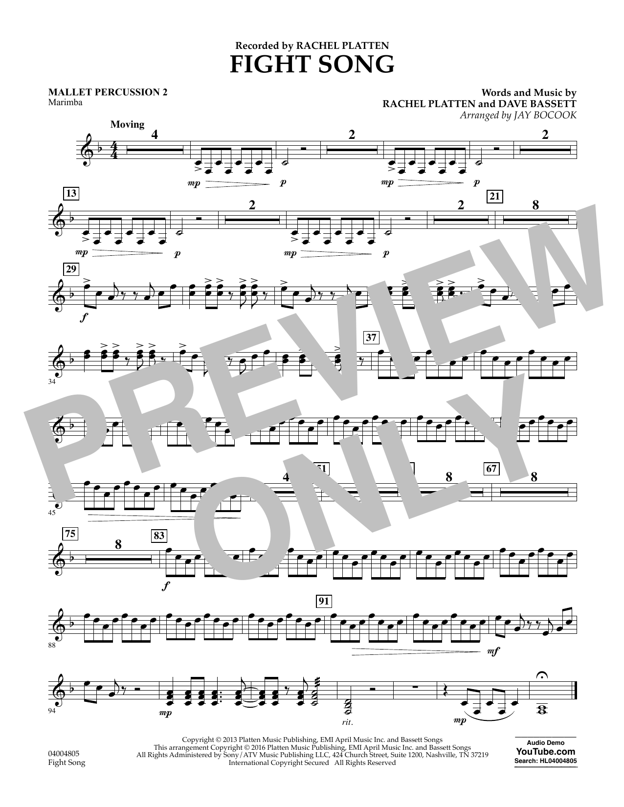 Fight Song - Mallet Percussion 2 (Concert Band)