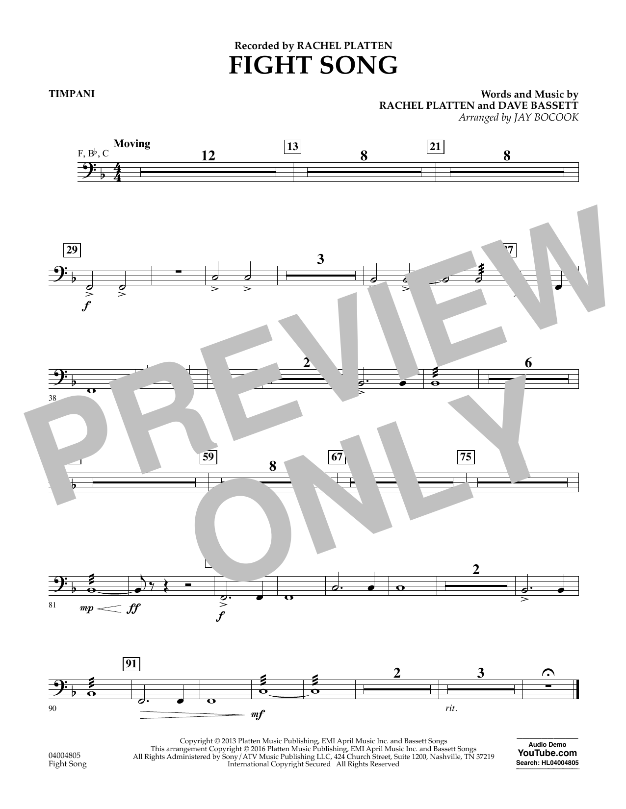 Fight Song - Timpani (Concert Band)
