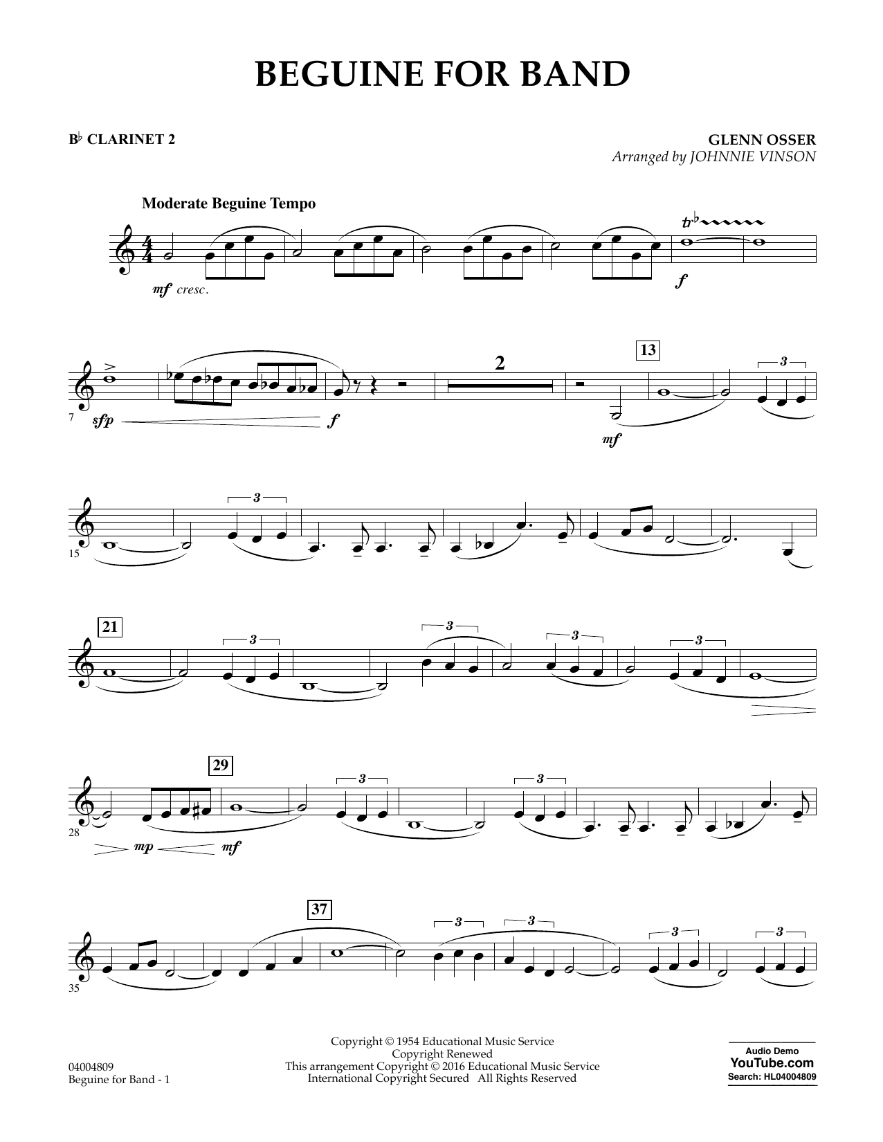 Beguine for Band - Bb Clarinet 2 (Concert Band)