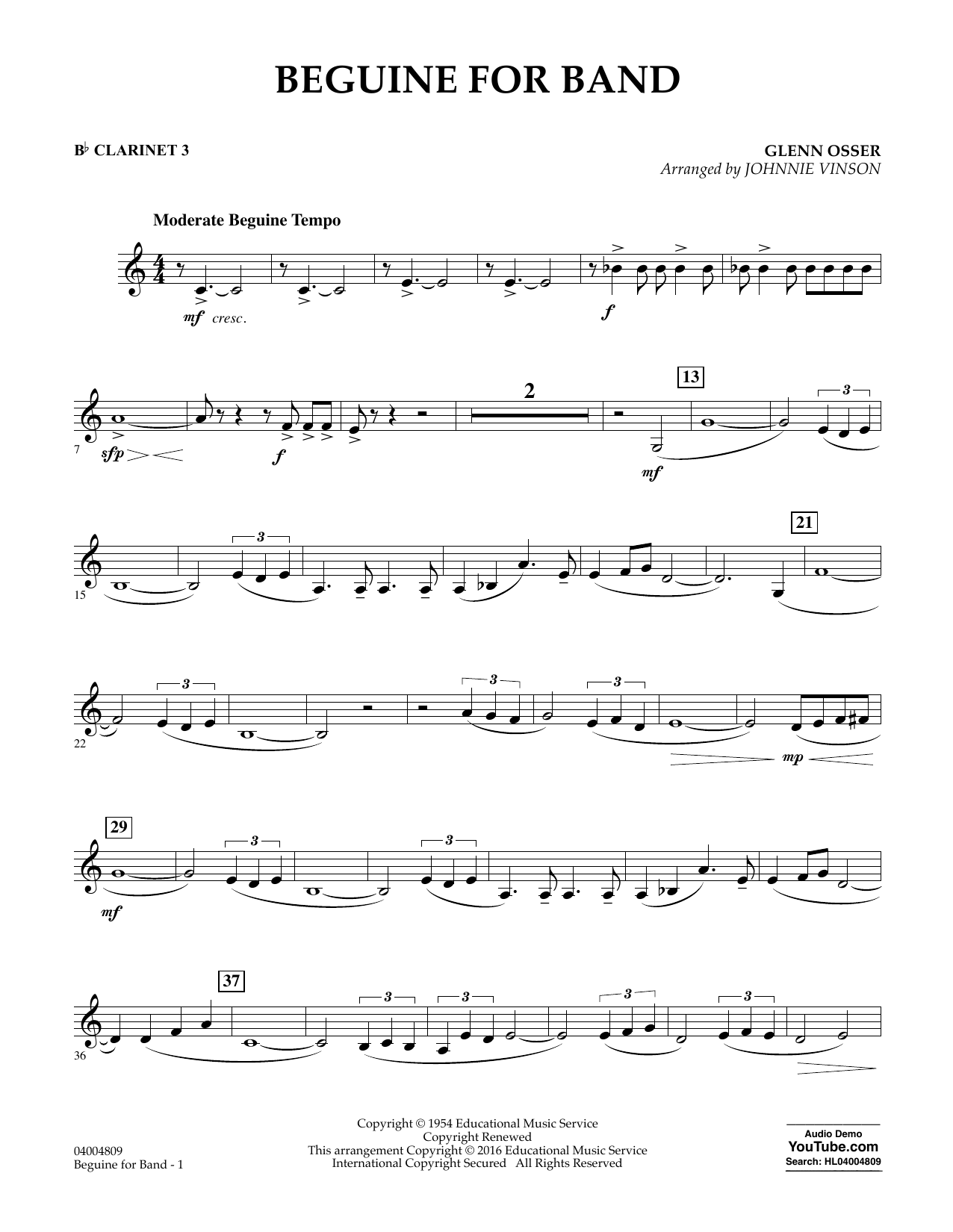 Beguine for Band - Bb Clarinet 3 (Concert Band)