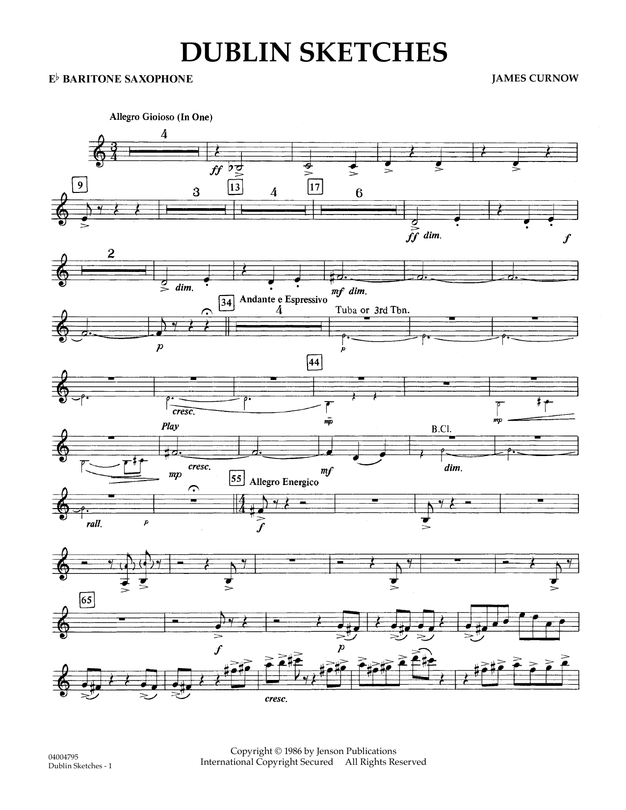 Dublin Sketches - Eb Baritone Saxophone (Concert Band)