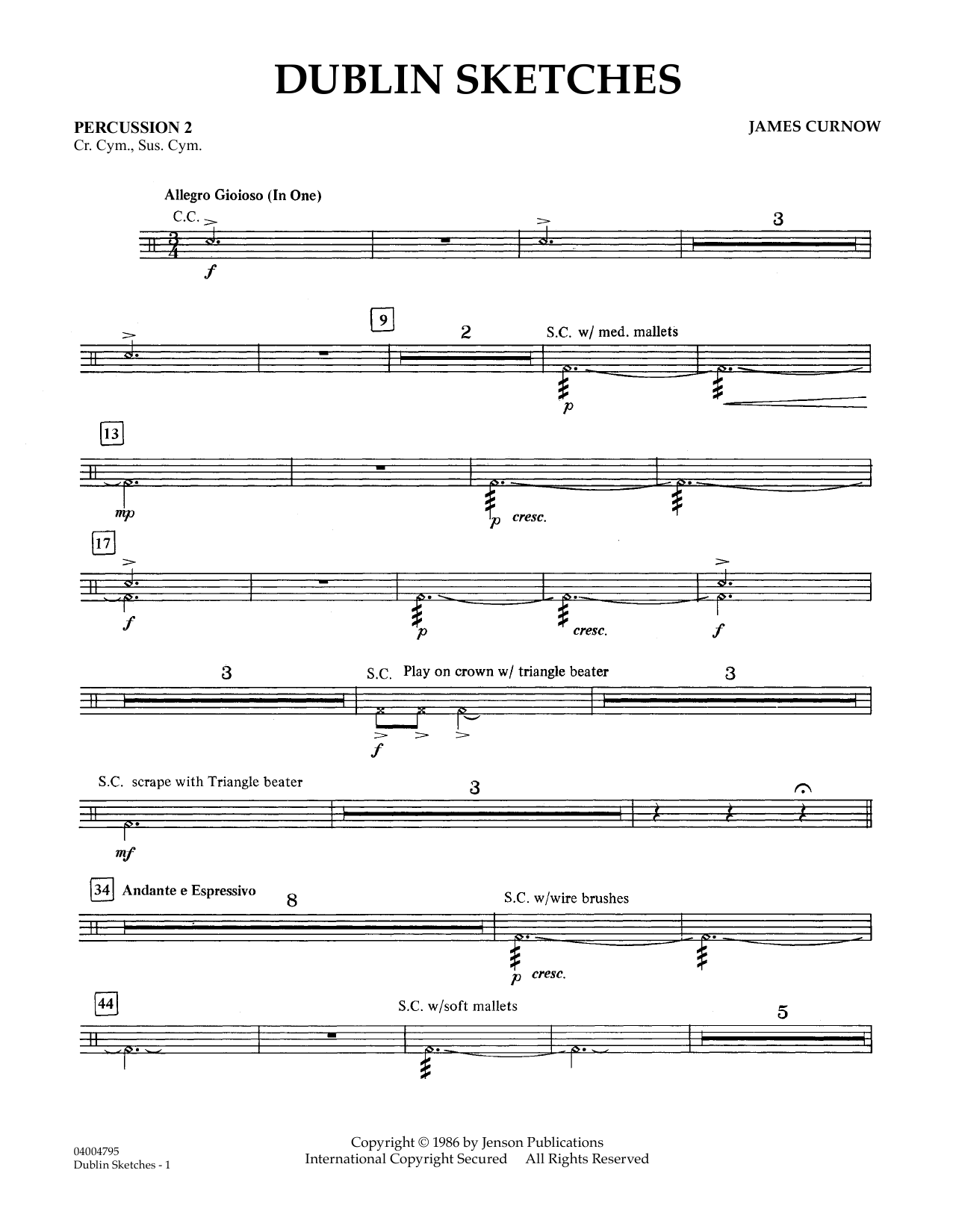 Dublin Sketches - Percussion 2 (Concert Band)