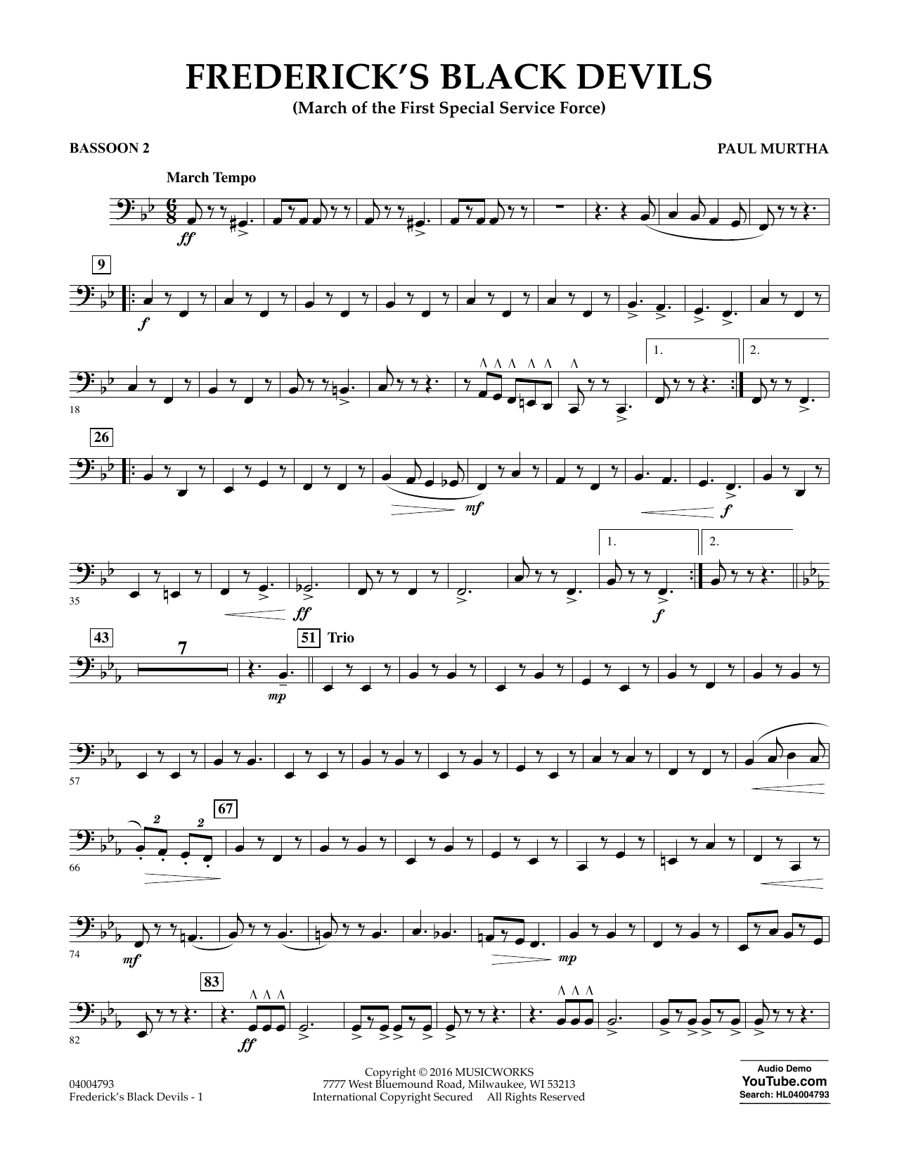 Frederick's Black Devils - Bassoon 2 (Concert Band)