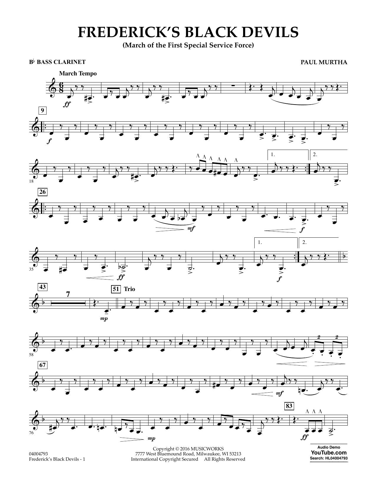 Frederick's Black Devils - Bb Bass Clarinet (Concert Band)