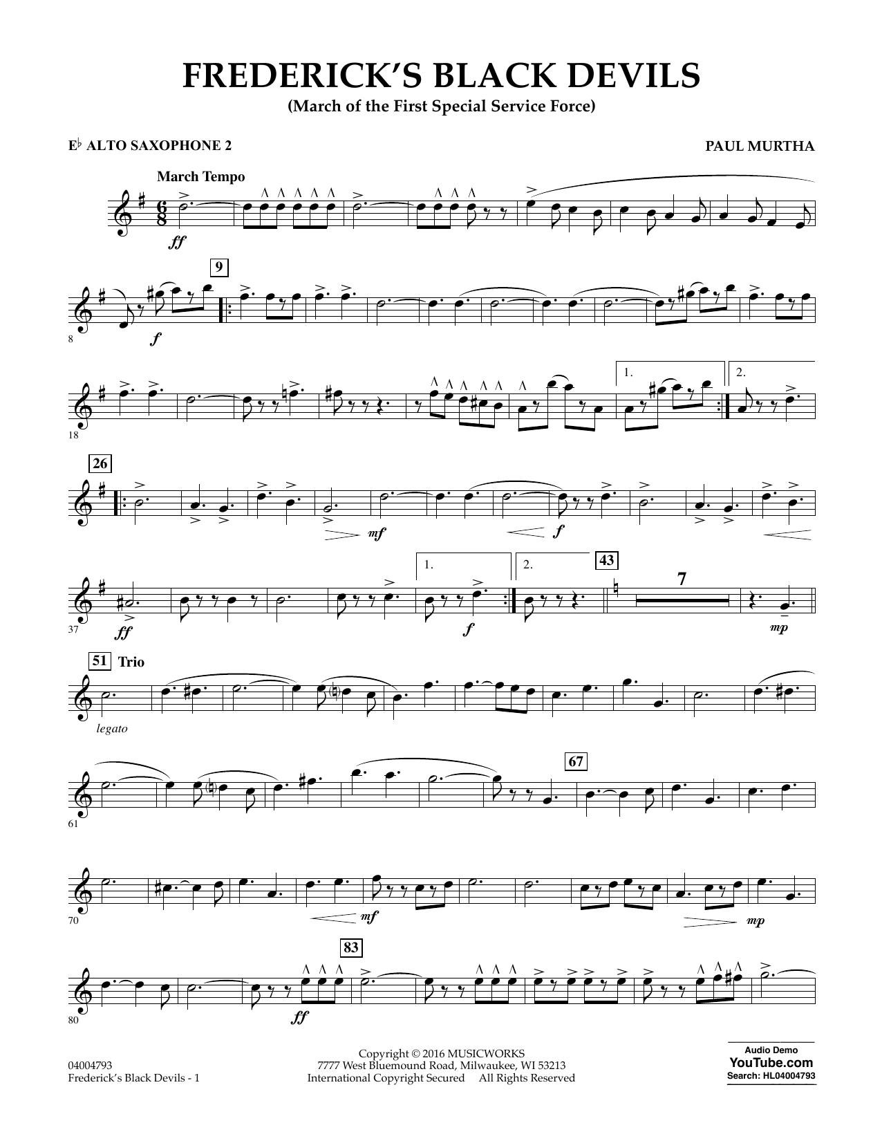 Frederick's Black Devils - Eb Alto Saxophone 2 (Concert Band)